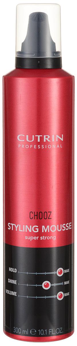 Cutrin Пенка экстра-сильной фиксации Choozism Styling Mousse Super Strong, 300 млMP59.4DОбеспечивает максимальный уровень фиксации укладки и долговременный объем. Защищает волосы от высоких температур при укладке феном или утюгом. Пантенол оказывает на волосы ухаживающий эффект.