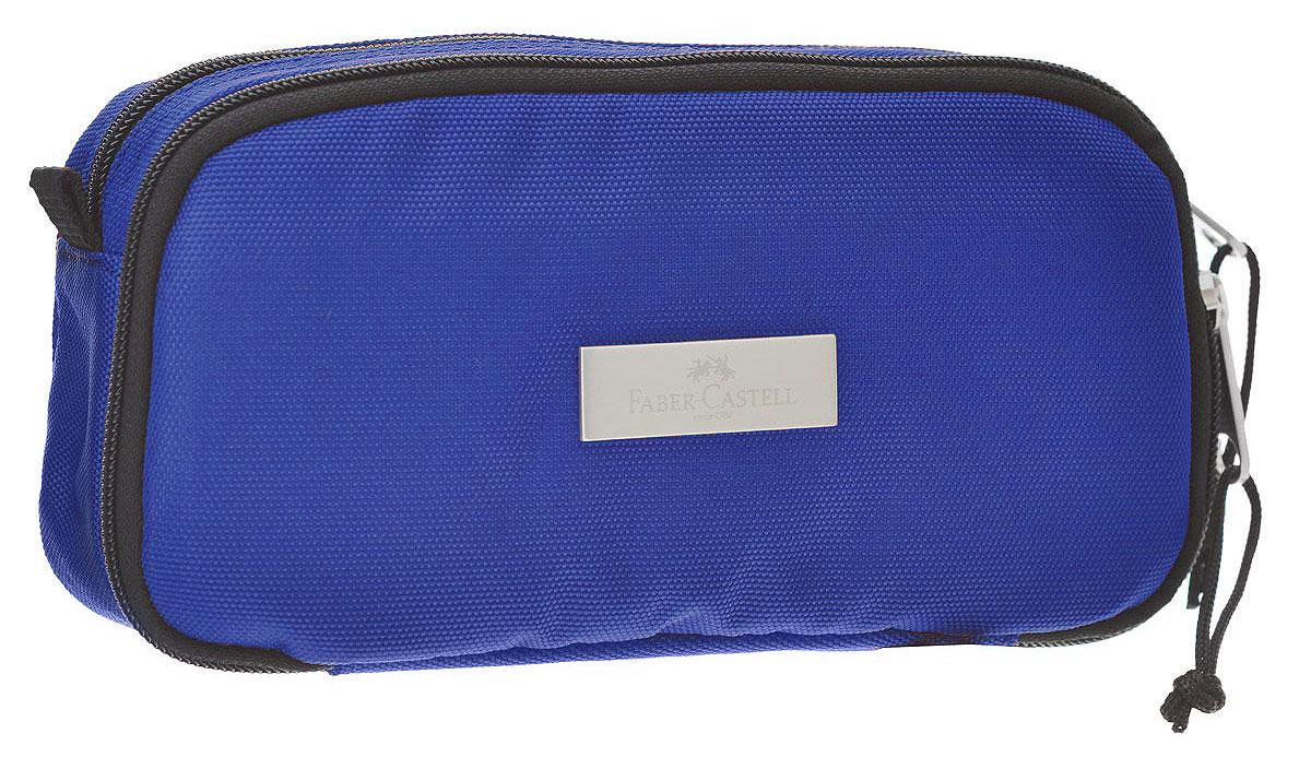 Faber-Castell Пенал цвет синий 19180672523WDСтильный пенал Faber-Castell выполнен из полиэстера и оформлен металлическим элементом, на который нанесен логотип бренда.Пенал содержит два отделения, которые закрываются на застежки-молнии. В малом отделении расположены два кармана, один из которых закрывается на молнию, а другой на липучку. В таком пенале прекрасно разместятся и останутся в сохранности все письменные принадлежности.