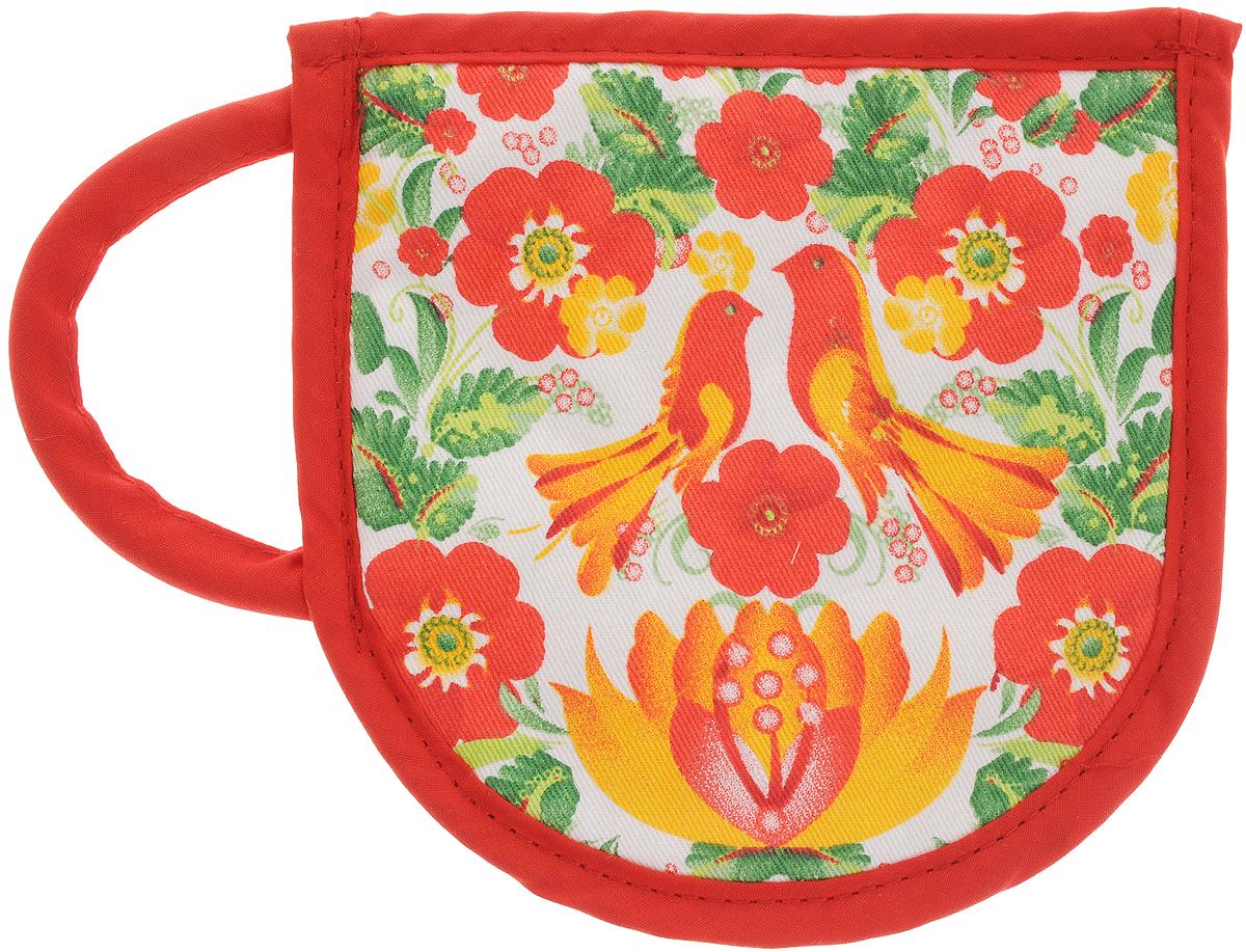 Прихватка Bonita Жар-птица, 15 х 15 смCLP446Прихватка Bonita выполнена из натурального хлопка и декорирована оригинальным рисунком. Изделие оснащено специальной петелькой, за которую его можно подвесить на крючок в любом удобном для вас месте. Такая прихватка красиво дополнит интерьер кухни.