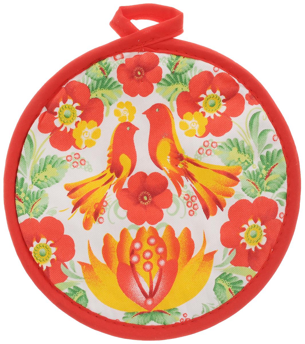 Прихватка Bonita Жар-птица, диаметр 18 см51798Прихватка Bonita выполнена из натурального хлопка и декорирована оригинальным рисунком. Изделие оснащено специальной петелькой, за которую его можно подвесить на крючок в любом удобном для вас месте. Такая прихватка красиво дополнит интерьер кухни.