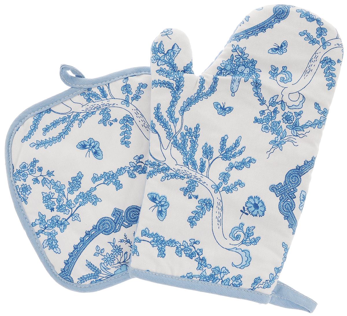 Набор прихваток Bonita Жуи, 2 предметаBH-UN0502( R)Набор Bonita Жуи состоит из прихватки-рукавицы и квадратной прихватки. Изделия выполнены из натурального хлопка и декорированы оригинальным рисунком. Прихватки простеганы, а края окантованы. Оснащены специальными петельками, за которые их можно подвесить на крючок в любом удобном для вас месте. Такой набор красиво дополнит интерьер кухни. Размер прихватки-рукавицы: 16 х 28 см.Размер прихватки: 17 х 17 см.
