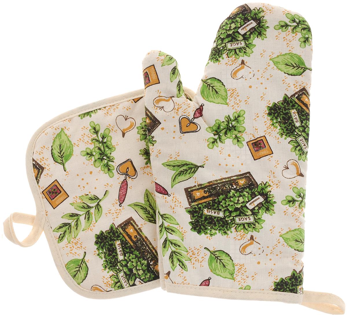 Набор прихваток Bonita Травы, 2 предметаVT-1520(SR)Набор Bonita Травы состоит из прихватки-рукавицы и квадратной прихватки. Изделия выполнены из натурального хлопка и декорированы оригинальным рисунком. Прихватки простеганы, а края окантованы. Оснащены специальными петельками, за которые их можно подвесить на крючок в любом удобном для вас месте. Такой набор красиво дополнит интерьер кухни. Размер прихватки-рукавицы: 16 х 28 см.Размер прихватки: 17 х 17 см.