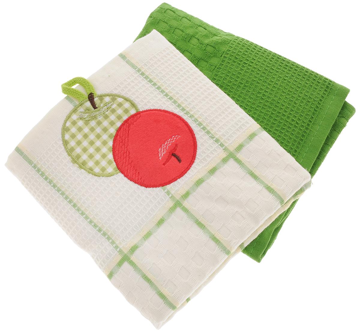 Набор кухонных полотенец Bonita Яблоко, цвет: зеленый, белый, 45 х 70 см, 2 шт115358Набор кухонных полотенец Bonita Яблоко состоит из двух полотенец, изготовленный из натурального хлопка, идеально дополнит интерьер вашей кухни и создаст атмосферу уюта и комфорта. Одно полотенце белого цвета в зеленую клетку оформлено вышивкой в виде яблок и оснащено петелькой. Другое полотенце однотонное зеленого цвета без вышивки. Изделия выполнены из натурального материала, поэтому являются экологически чистыми. Высочайшее качество материала гарантирует безопасность не только взрослых, но и самых маленьких членов семьи. Современный декоративный текстиль для дома должен быть экологически чистым продуктом и отличаться ярким и современным дизайном.