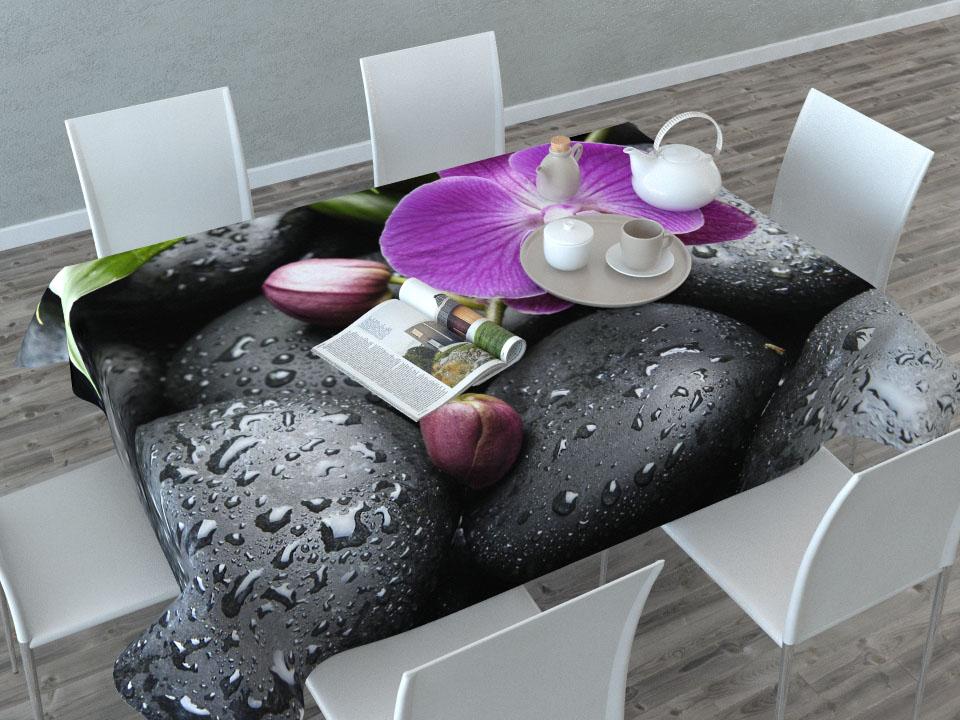 Скатерть Сирень Орхидея на камнях, прямоугольная, 145 x 120 смCLP446Прямоугольная скатерть Сирень Орхидея на камнях с ярким и объемным рисунком, выполненная из габардина, преобразит вашу кухню, визуально расширит пространство, создаст атмосферу радости и комфорта. Рекомендации по уходу: стирка при 30 градусах, гладить при температуре до 110 градусов.Размер скатерти: 145 х 120 см. Изображение может немного отличаться от реального.