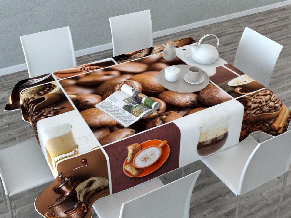 Скатерть Сирень Кофейная тематика, прямоугольная, 145 x 120 см1004900000360Скатерть Сирень Кофейная тематика с ярким и объемным рисунком преобразит вашу кухню, визуально расширит пространство, создаст атмосферу радости и комфорта. Скатерть выполнена из габардина (100% полиэстер), который по своей структуре напоминает хлопок. Особенностью ткани является небольшая плотность, из-за чего она хорошо пропускает воздух и солнечный свет.Рекомендации по уходу: стирка при 30°С, гладить при температуре до 110°С.