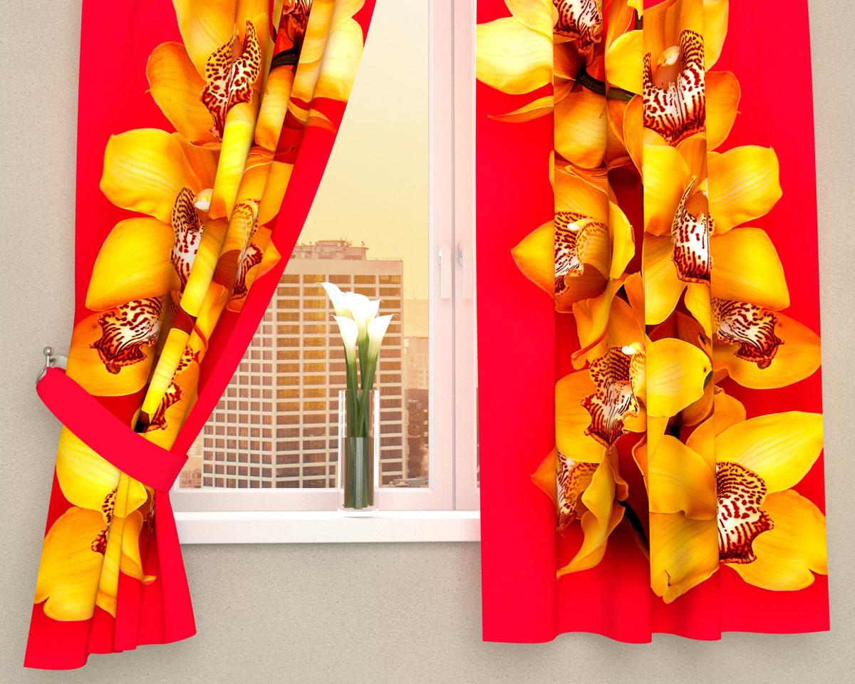 Комплект фотоштор Сирень Желтая орхидея, на ленте, высота 160 см1004900000360Фотошторы для кухни Сирень Желтая орхидея, выполненные из габардина (100% полиэстера), отлично дополнят украшение любого интерьера. Особенностью ткани габардин является небольшая плотность, из-за чего ткань хорошо пропускает воздух и солнечный свет. Ткань хорошо держит форму, не требует специального ухода. Крепление на карниз при помощи шторной ленты на крючки. В комплекте 2 шторы. Ширина одного полотна: 145 см.Высота штор: 160 см.Рекомендации по уходу: стирка при 30 градусах, гладить при температуре до 110 градусов.Изображение на мониторе может немного отличаться от реального.Подхваты в комплект не входят.