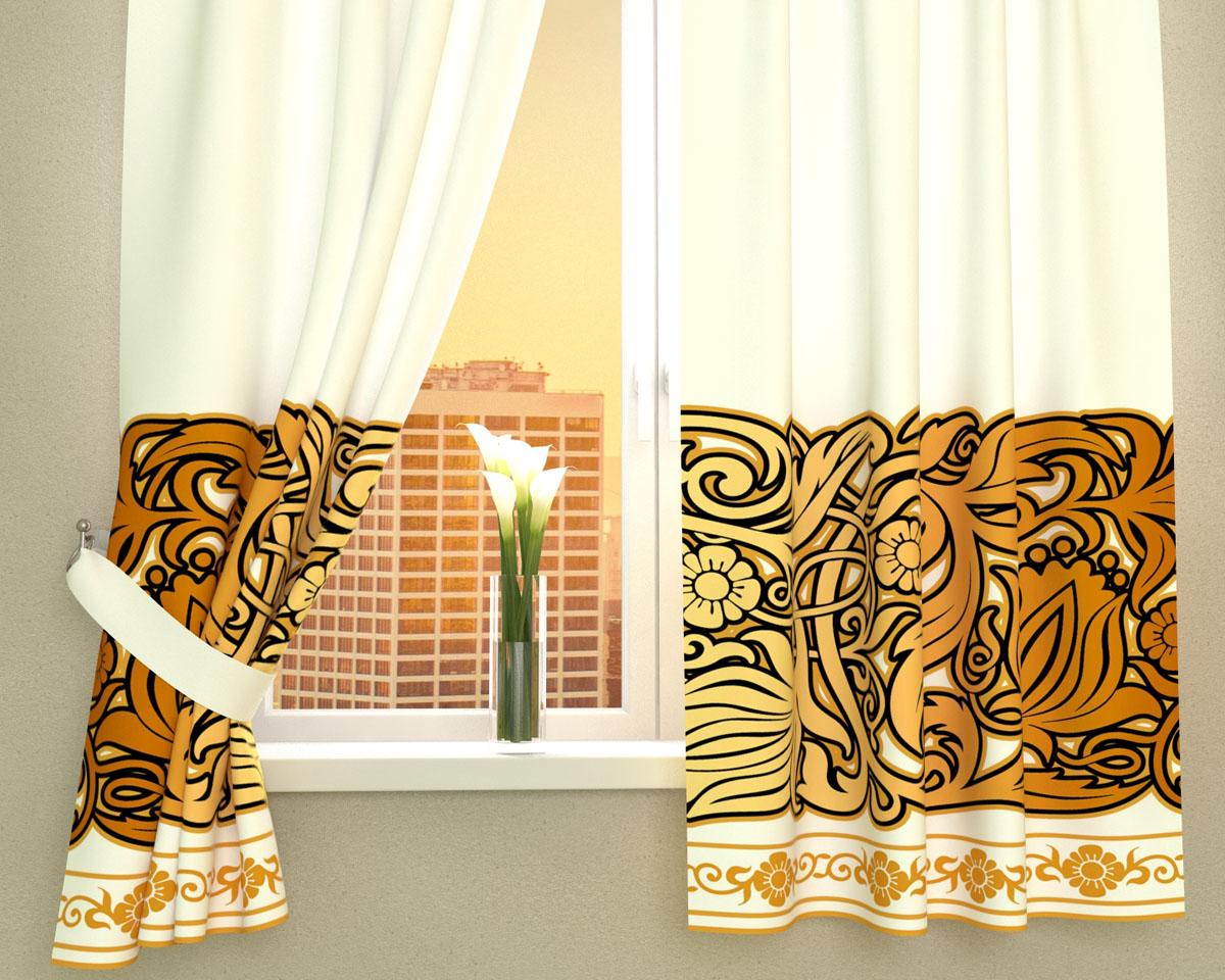 Комплект фотоштор Сирень Золотой узор, на ленте, высота 160 см1004900000360Фотошторы для кухни Сирень Золотой узор, выполненные из габардина (100% полиэстера), отлично дополнят украшение любого интерьера. Особенностью ткани габардин является небольшая плотность, из-за чего ткань хорошо пропускает воздух и солнечный свет. Ткань хорошо держит форму, не требует специального ухода. Крепление на карниз при помощи шторной ленты на крючки. В комплекте 2 шторы. Ширина одного полотна: 145 см.Высота штор: 160 см.Рекомендации по уходу: стирка при 30 градусах, гладить при температуре до 110 градусов.Изображение на мониторе может немного отличаться от реального.Подхваты в комплект не входят.