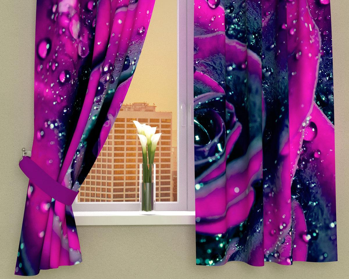 Комплект фотоштор Сирень Пурпурная роза, на ленте, высота 160 см1004900000360Фотошторы для кухни Сирень Пурпурная роза, выполненные из габардина (100% полиэстера), отлично дополнят украшение любого интерьера. Особенностью ткани габардин является небольшая плотность, из-за чего ткань хорошо пропускает воздух и солнечный свет. Ткань хорошо держит форму, не требует специального ухода. Крепление на карниз при помощи шторной ленты на крючки. В комплекте 2 шторы. Ширина одного полотна: 145 см.Высота штор: 160 см.Рекомендации по уходу: стирка при 30 градусах, гладить при температуре до 110 градусов.Изображение на мониторе может немного отличаться от реального.Подхваты в комплект не входят.