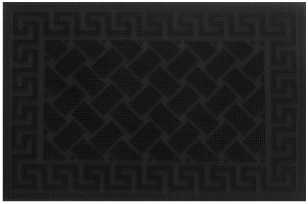 Коврик придверный Shree Sai International Pin Mat. Орнамент, цвет: черный, 60 х 40 смFS-91909Придверный коврик Shree Sai International Pin Mat. Орнамент, выполненный из резины, прост в обслуживании, прочный и устойчивый к различным погодным условиям. Конструкция коврика имеет специальные ребра, которые помогают более эффективно удалять грязь с обуви. Его основа предотвращает скольжение по гладкой поверхности и обеспечивает надежную фиксацию. Такой коврик надежно защитит помещение от уличной пыли и грязи.