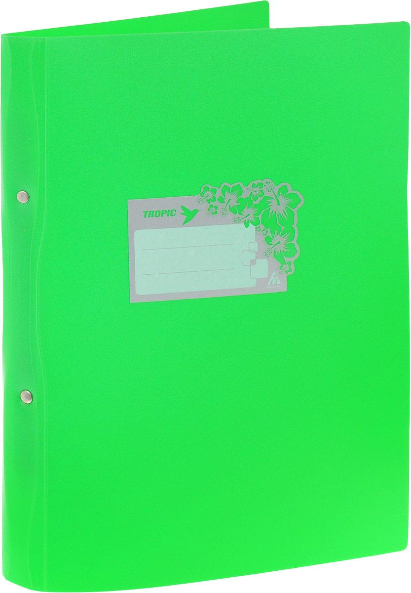 Бюрократ Папка-скоросшиватель Tropic формат А4 цвет зеленыйAC-1121RDПапка со скоросшивателем Бюрократ Crystal - это удобный и функциональный офисный инструмент, предназначенный для хранения и транспортировки рабочих бумаг и документов формата А4.Папка идеально подходит для подшивки бумаг в архивные папки с помощью металлического скоросшивателя. На лицевой стороне папки имеется место для ФИО владельца, оформленное рисунком с тропическими цветами. Углы папки закруглены. Папка - это незаменимый атрибут для любого студента, школьника или офисного работника. Такая папка надежно сохранит ваши бумаги и сбережет их от повреждений, пыли и влаги.