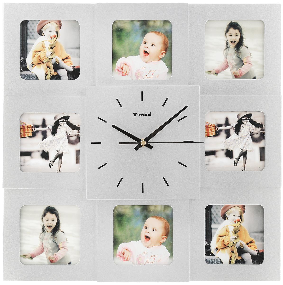 Часы настенные HomeMaster, с 8 фоторамками, цвет: серебристый94672Настенные часы HomeMaster кварцевые с фоторамками - это прекрасный предмет декора, а также универсальный подарок практически по любому поводу. Корпус часов, выполнен из дерева с серебристым матовым покрытием и оформлен восемью фоторамками.Циферблат часов оснащен тремя стрелками: часовой, минутной и секундной. Метки нанесены черной краской на серебристом фоне. На задней стенке часов расположена металлическая петелька для подвешивания и блок с часовым механизмом. Часы с фоторамками прекрасно впишутся в любой интерьер. В зависимости оттого, что вы поместите в рамки, будет меняться и стиль часов. Тип механизма: плавающий, бесшумный. Рекомендуется докупить батарейку типа АА (не входит в комплект). Размер изделия: 40 х 40 х 5 см.Размер фоторамок: 8,5 х 8,5 см.