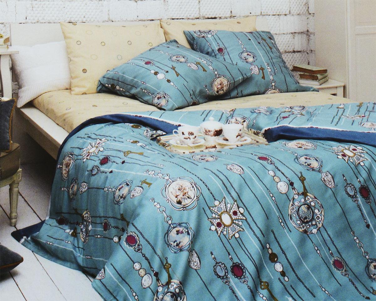 Комплект белья Tiffanys Secret Секрет Тиффани, 2-спальный, наволочки 70х70, цвет: бирюзовый, бежевый391602Комплект постельного белья Tiffanys Secret Секрет Тиффани является экологически безопасным для всей семьи, так как выполнен из сатина (100% хлопок). Комплект состоит из пододеяльника, простыни и двух наволочек. Предметы комплекта оформлены оригинальным рисунком.Благодаря такому комплекту постельного белья вы сможете создать атмосферу уюта и комфорта в вашей спальне.Сатин - это ткань, навсегда покорившая сердца человечества. Ценившие роскошь персы называли ее атлас, а искушенные в прекрасном французы - сатин. Секрет высококачественного сатина в безупречности всего технологического процесса. Эту благородную ткань делают только из отборной натуральной пряжи, которую получают из самого лучшего тонковолокнистого хлопка. Благодаря использованию самой тонкой хлопковой нити получается необычайно мягкое и нежное полотно. Сатиновое постельное белье превращает жаркие летние ночи в прохладные и освежающие, а холодные зимние - в теплые и согревающие. Сатин очень приятен на ощупь, постельное белье из него долговечно, выдерживает более 300 стирок, и лишь спустя долгое время материал начинает немного тускнеть. Оцените все достоинства постельного белья из сатина, выбирая самое лучшее для себя!