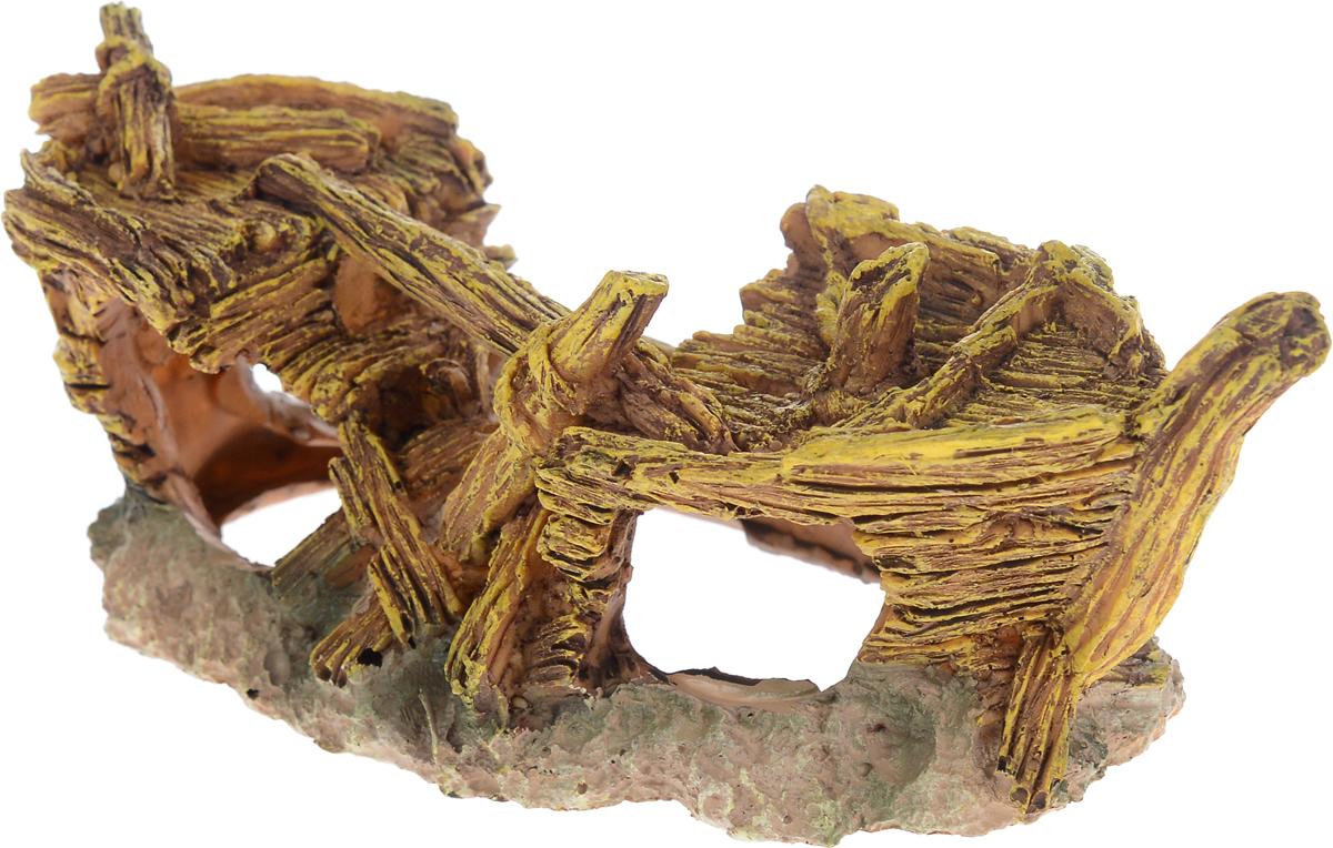 Декорация для аквариума Barbus Лодка, цвет: коричневый, бежевый, золотистый, 18 х 8,5 х 7 см0120710Декорация для аквариума Barbus Лодка, выполненная из высококачественного нетоксичного полирезина, станет прекрасным украшением вашего аквариума. Изделие отличается реалистичным исполнением с множеством мелких деталей и отверстий. Ведь многие обитатели аквариума используют декорации как укрытия, в которых они живут и размножаются. Декорация абсолютно безопасна, нейтральна к водному балансу, устойчива к истиранию краски, подходит как для пресноводного, так и для морского аквариума. Благодаря декорациям Barbus вы сможете смоделировать потрясающий пейзаж на дне вашего аквариума или террариума.
