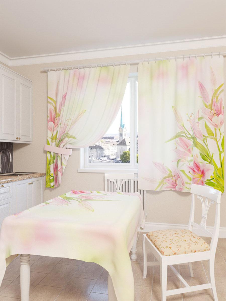 Скатерть Сирень Букет розовых лилий, прямоугольная, 145 x 120 смVT-1520(SR)Скатерть Сирень с ярким и объемным рисунком преобразит вашу кухню, визуально расширит пространство, создаст атмосферу радости и комфорта. Скатерть выполнена из габардина (100% полиэстер), который по своей структуре напоминает хлопок. Особенностью ткани является небольшая плотность, из-за чего она хорошо пропускает воздух и солнечный свет.Рекомендации по уходу: стирка при 30°С, гладить при температуре до 110°С.