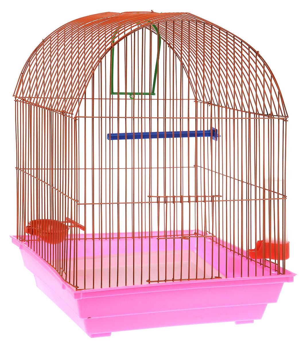 Клетка для птиц ЗооМарк, цвет: розовый поддон, оранжевая решетка, 35 х 28 х 45 см0120710Клетка ЗооМарк, выполненная из полипропилена и металла, предназначена для мелких птиц. Вы можете поселить в нее одну или две птицы. Изделие состоит из большого поддона и решетки. Клетка снабжена металлической дверцей, которая открывается и закрывается движением вверх-вниз. В основании клетки находится малый поддон. Клетка удобна в использовании и легко чистится. Она оснащена жердочкой, кольцом для птицы, кормушкой, поилкой и подвижной ручкой для удобной переноски. Комплектация: - клетка с поддоном, - малый поддон; - кормушка; - поилка; - кольцо.