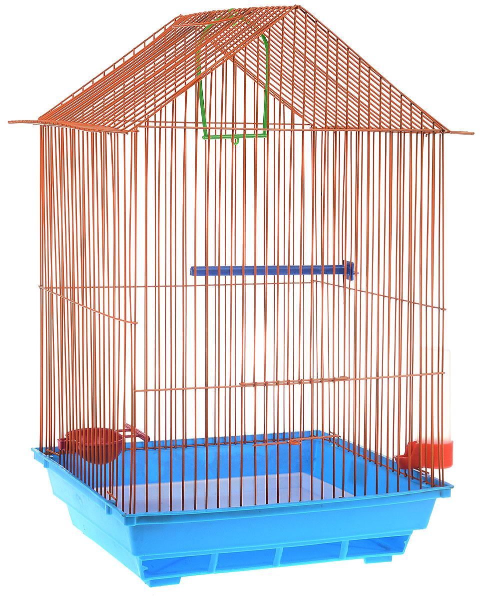 Клетка для птиц ЗооМарк, цвет: голубой поддон, оранжевая решетка, 34 x 28 х 54 см4040Клетка ЗооМарк, выполненная из полипропилена и металла с эмалированным покрытием, предназначена для мелких птиц.Изделие состоит из большого поддона и решетки. Клетка снабжена металлической дверцей. В основании клетки находится малый поддон. Клетка удобна в использовании и легко чистится. Она оснащена жердочкой, кольцом для птицы, поилкой, кормушкой и подвижной ручкой для удобной переноски. Комплектация: - клетка с поддоном, - малый поддон; - поилка; - кормушка;- кольцо.