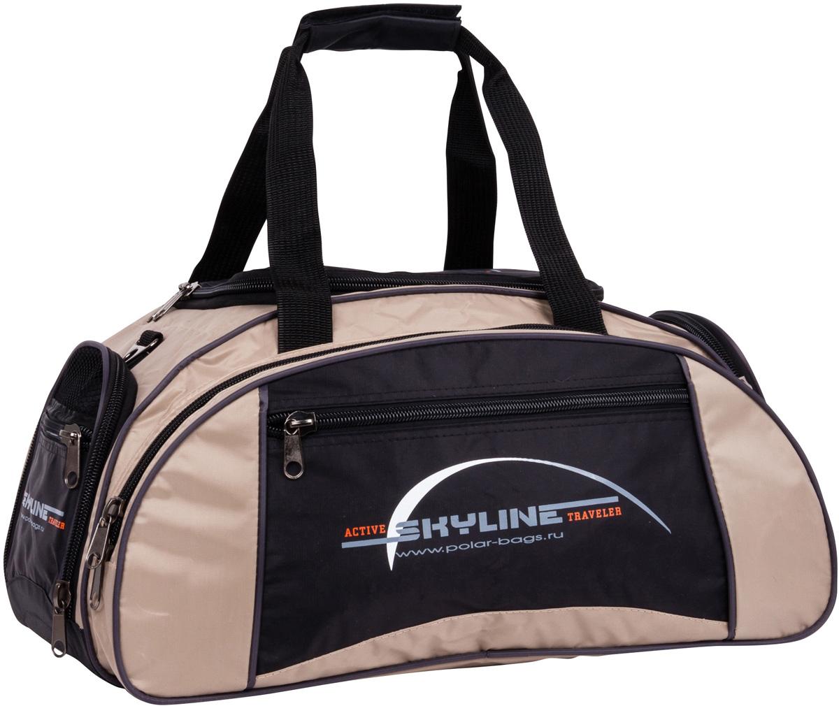 Сумка спортивная Polar Скайлайн, цвет: черный, бежевый, 36 л, 50 х 24 х 30 см. 6063ГризлиСпортивная сумка для ваших вещей. Большое отделение под вещи, плюс три кармана снаружи сумки, позволит вместить в сумку самые необходимые вещи. Карман сбоку под обувь. Имеется плечевой ремень.