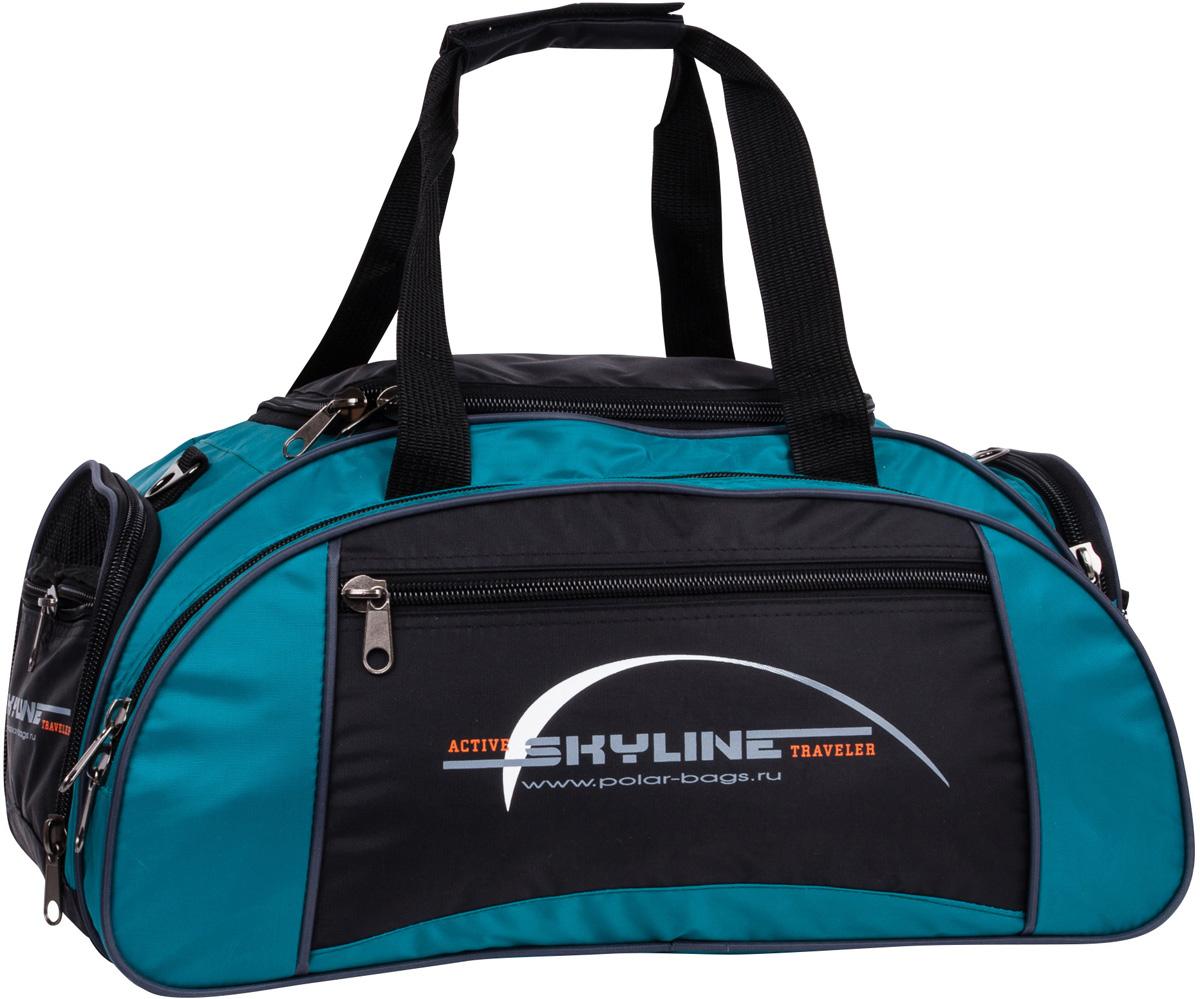 Сумка спортивная Polar Скайлайн, цвет: черный, бирюзовый, 36 л. 6063Trevira ThermoСпортивная сумка Polar Скайлайн выполнена из полиэстера. Большое отделение под вещи, плюс три кармана снаружи сумки позволят вместить в сумку самые необходимые вещи. Сбоку расположен карман для обуви. Имеется плечевой ремень.