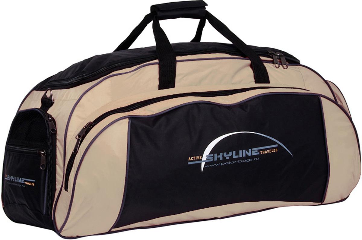 Сумка спортивная Polar Скайлайн, цвет: черный, бежевый, 73,5 л. 60646064Спортивная сумка Polar Скайлайн выполнена из полиэстера. Сумка имеет одно большое отделение для основных вещей, а так же 3 больших кармана, что делает сумку незаменимой при занятии спортом или дальних поездках. Изделие оснащено двумя удобными текстильными ручками и съемным плечевым ремнем.