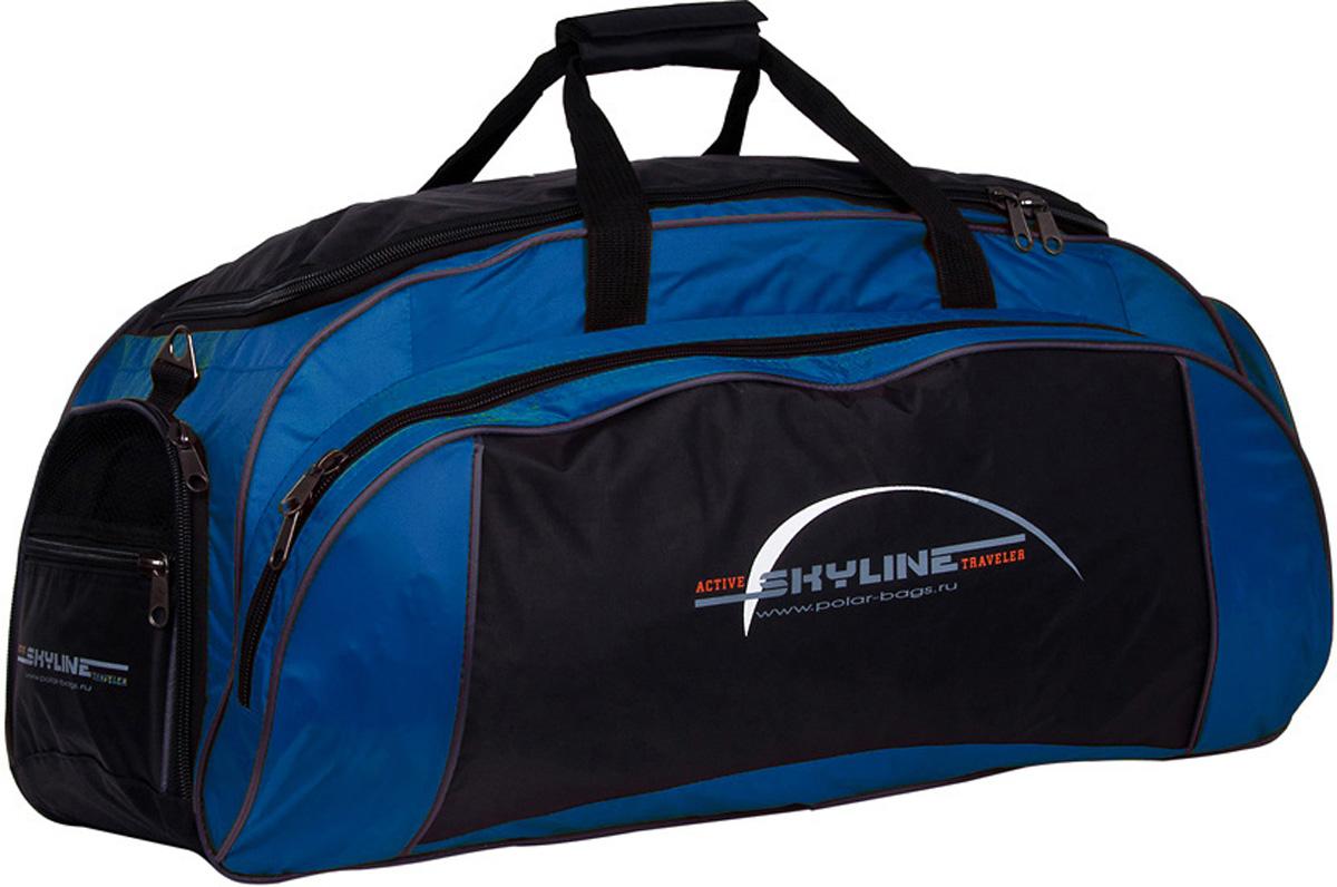Сумка спортивная Polar Скайлайн, цвет: черный, синий, 73,5 л. 6064Костюм Охотник-Штурм: куртка, брюкиСпортивная сумка Polar Скайлайн выполнена из полиэстера. Сумка имеет одно большое отделение для основных вещей, а так же 3 больших кармана, что делает сумку незаменимой при занятии спортом или дальних поездках. Изделие оснащено двумя удобными текстильными ручками и съемным плечевым ремнем.