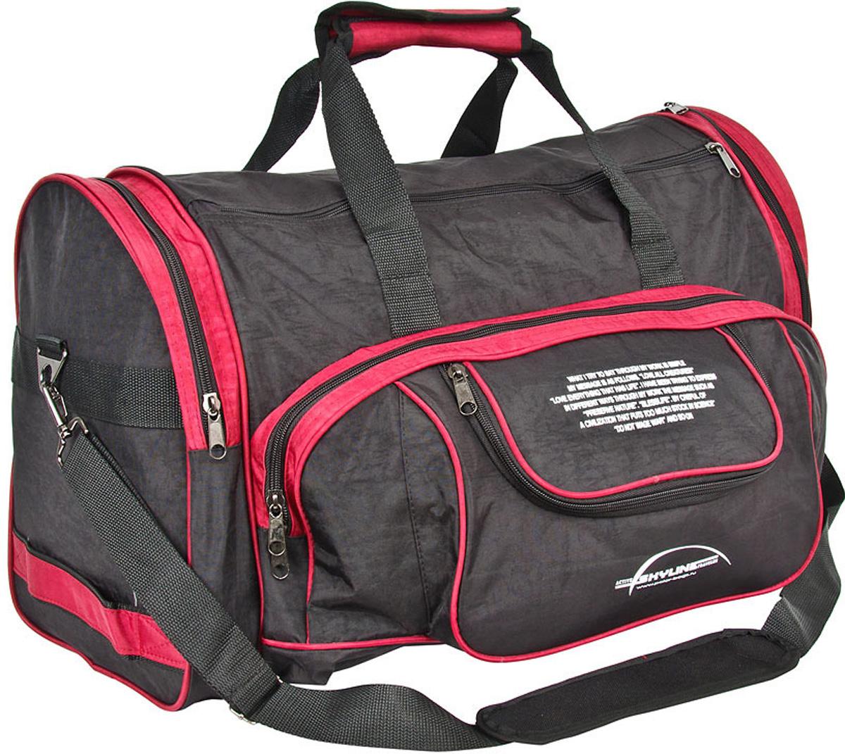 Сумка спортивная Polar  Тревел , цвет: черный, красный, 44,5 л, 55 х 27 х 30 см. 6066 - Дорожные сумки