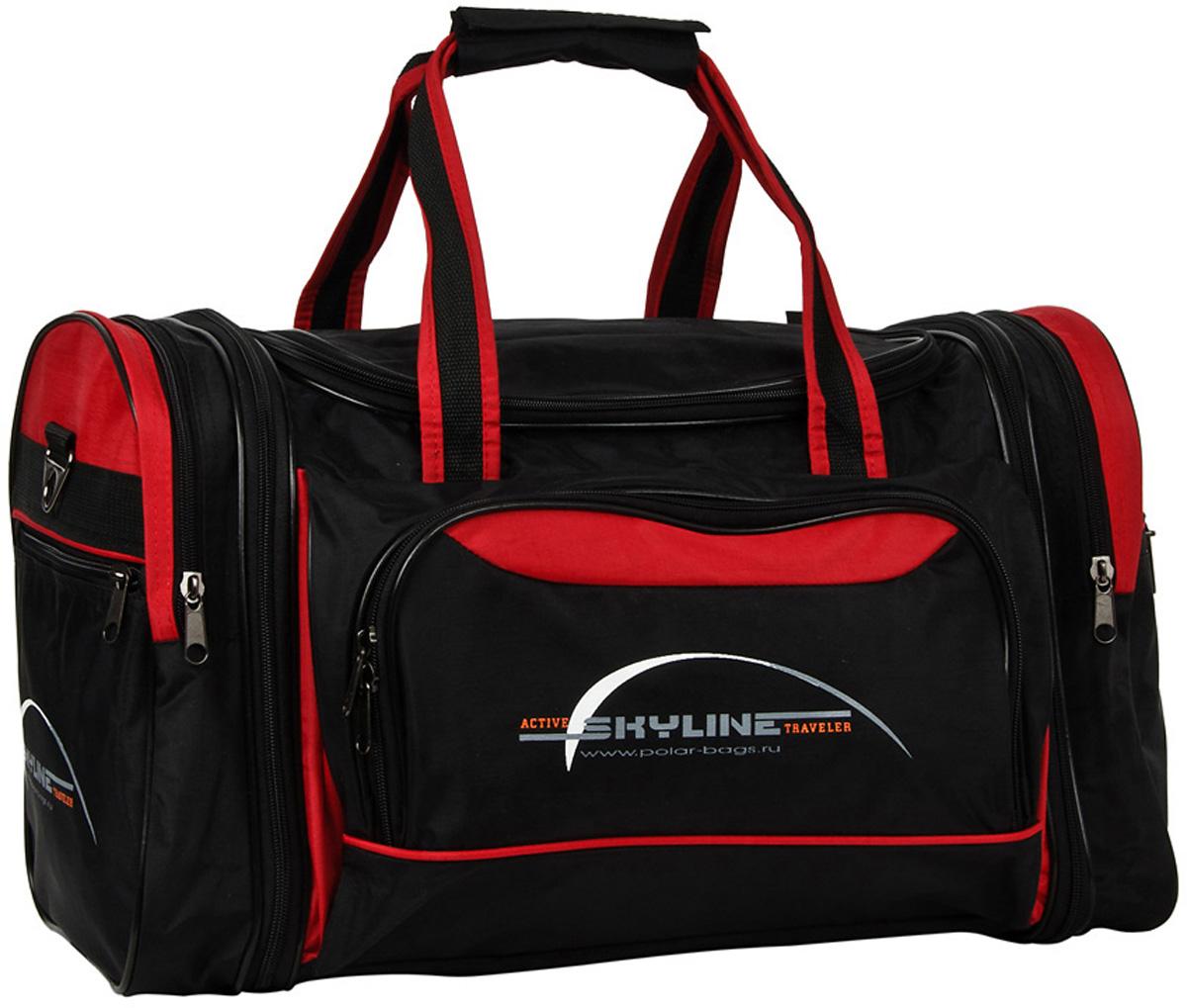Сумка спортивная Polar Сириус, раздвижная, цвет: черный, красный, 38 л, 47 х 31 х 26 см. 6067ГризлиМатериал – полиэстер с водоотталкивающей пропиткой. Вместительная спортивная сумка среднего размера. Одно отделение. Два боковых кармана и карман на передней части. В комплект входит съемный плечевой ремень. Расширение по бокам сумки на +5 см. Эта сумка идеально подойдет для спорта и отдыха. Спортивная сумка для ваших вещей.