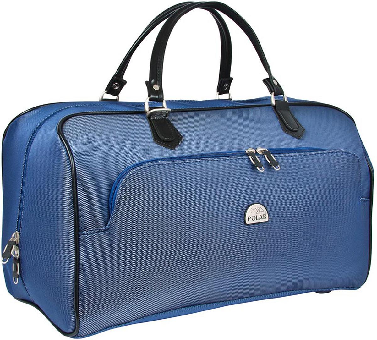 Сумка дорожная Polar, цвет: синий, 47 л. 7051ГризлиСтильная дорожная сумка Polar выполнена из кордура. Сумка имеет одно вместительное отделение, закрывающееся на двухстороннюю застежку-молнию. Стенки и дно - жесткие. Внутри - один большой карман на молнии. Снаружи - большой карман на молнии. Ручки отделаны искусственной кожей. В комплекте есть съемный, регулируемый плечевой ремень.