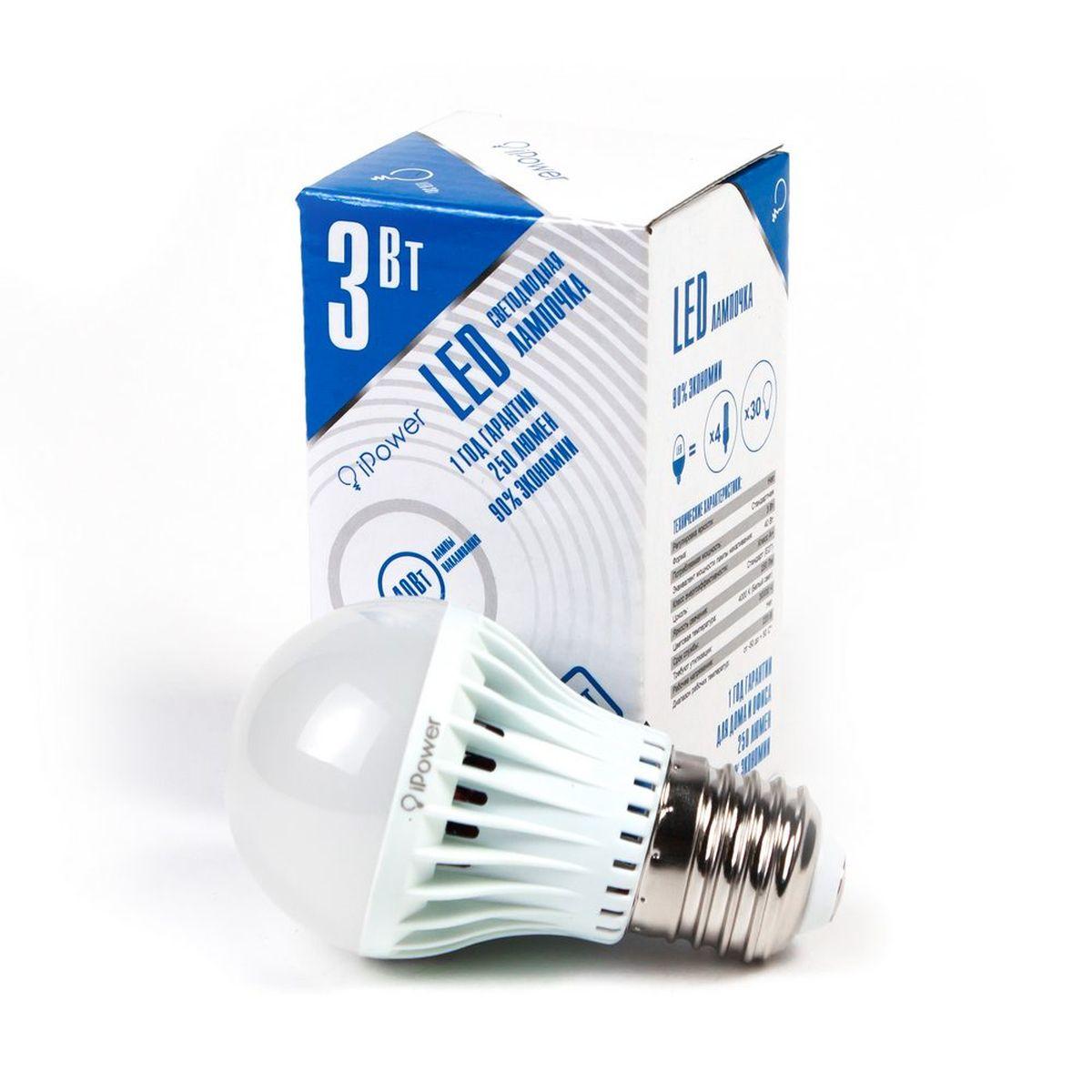 Лампа светодиодная iPower, цоколь Е27, 3W, 4000КC0044702Светодиодная лампа iPower имеет очень низкое энергопотребление. В сравнении с лампами накаливания LED потребляет в 12 разменьше электричества, а в сравнении с энергосберегающими - в 2-4 раза меньше. При этом срок службы LED лампочки в 5 раз выше, чемэнергосберегающей, и в 50 раз выше, чем у лампы накаливания. Светодиодная лампа iPower создает мягкий рассеивающий свет безмерцаний, что совершенно безопасно для глаз. Она специально разработана по требованиям российских и европейских законов и подходит ковсем осветительным устройствам, совместимым со стандартным цоколем E27. Использование светодиодов от мирового лидера Epistar - этозалог надежной и стабильной работы лампы. Нейтральный белый оттенок свечения идеально подойдёт для освещения, как офисов,образовательных и медицинских учреждений, так и кухни, гостиной.Диапазон рабочих температур: от -50°C до +50°С.Материал: поликарбонат.Потребляемая мощность: 3 Вт.Рабочее напряжение: В 220В.Световая температура: 4000К (белый свет).Срок службы: 30000 часов.Форма: стандарт.Цоколь: стандарт (E27).Эквивалент мощности лампы накаливания: 40 Вт.Яркость свечения: 250 Лм.