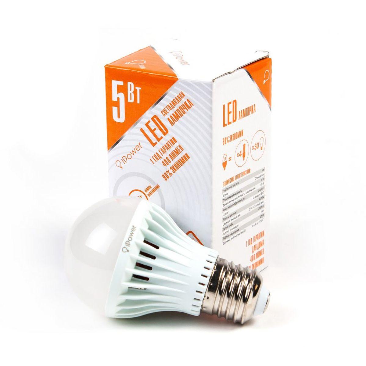 Лампа светодиодная iPower, цоколь Е27, 5W, 2700КC0042416Светодиодная лампа iPower имеет очень низкое энергопотребление. В сравнении с лампами накаливания LED потребляет в 12 разменьше электричества, а в сравнении с энергосберегающими - в 2-4 раза меньше. При этом срок службы LED лампочки в 5 раз выше, чемэнергосберегающей, и в 50 раз выше, чем у лампы накаливания. Светодиодная лампа iPower создает мягкий рассеивающий свет безмерцаний, что совершенно безопасно для глаз. Она специально разработана по требованиям российских и европейских законов и подходит ковсем осветительным устройствам, совместимым со стандартным цоколем E27. Использование светодиодов от мирового лидера Epistar - этозалог надежной и стабильной работы лампы. Теплый оттенок света лампы по световой температуресоответствует обычной лампе накаливания ипозволит создать уют в доме и местах отдыха.Диапазон рабочих температур от -50°С до +50°С.Материал: поликарбонат.Потребляемая мощность: 5 Вт.Рабочее напряжение: 220В.Световая температура: 2700К (теплый свет).Срок службы: 30000 часов.Форма: стандарт.Цоколь: стандарт (E27).Эквивалент мощности лампы накаливания: 50 Вт.Яркость свечения: 400 Лм.