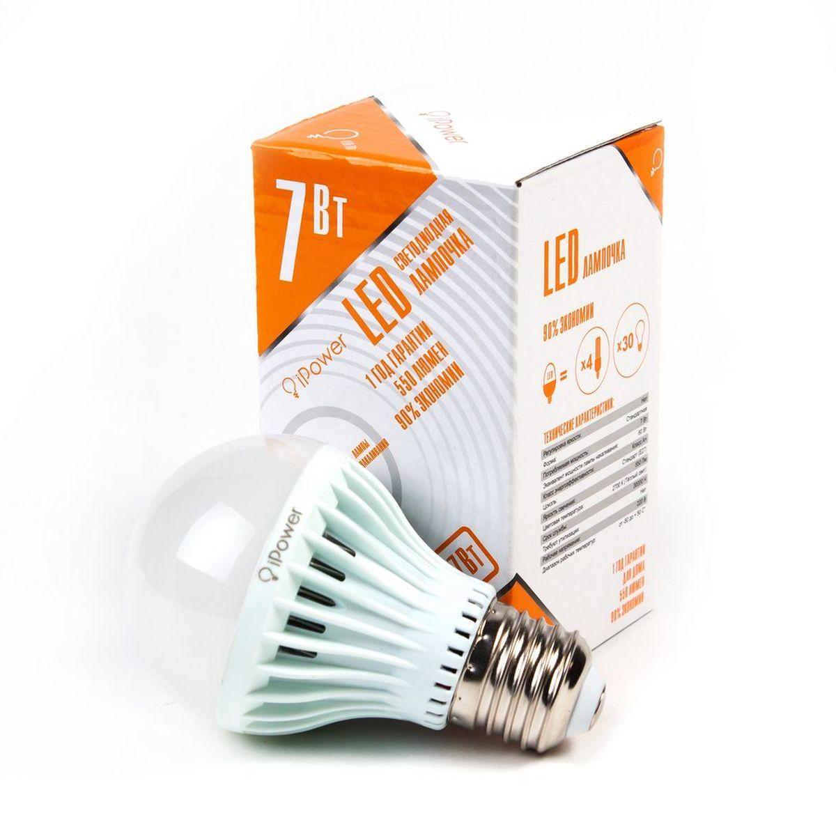 Лампа светодиодная iPower, цоколь Е27, 7W, 2700К5055945518177Светодиодная лампа iPower имеет очень низкое энергопотребление. В сравнении с лампами накаливания LED потребляет в 12 разменьше электричества, а в сравнении с энергосберегающими - в 2-4 раза меньше. При этом срок службы LED лампочки в 5 раз выше, чемэнергосберегающей, и в 50 раз выше, чем у лампы накаливания. Светодиодная лампа iPower создает мягкий рассеивающий свет безмерцаний, что совершенно безопасно для глаз. Она специально разработана по требованиям российских и европейских законов и подходит ковсем осветительным устройствам, совместимым со стандартным цоколем E27. Использование светодиодов от мирового лидера Epistar - этозалог надежной и стабильной работы лампы. Теплый оттенок света лампы по световой температуресоответствует обычной лампе накаливания ипозволит создать уют в доме и местах отдыха.Диапазон рабочих температур от -50°С до +50°С.Материал: поликарбонат.Потребляемая мощность: 7 Вт.Рабочее напряжение: 220В.Световая температура: 2700К (теплый свет).Срок службы: 30000 часов.Форма: стандарт.Цоколь: стандарт (E27).Эквивалент мощности лампы накаливания: 60 Вт.Яркость свечения: 550 Лм.