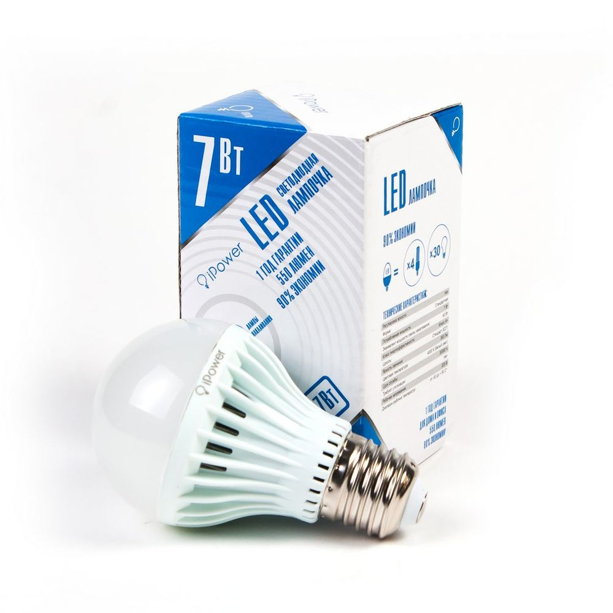 "Лампа светодиодная ""iPower"", цоколь Е27, 7W, 4000К"