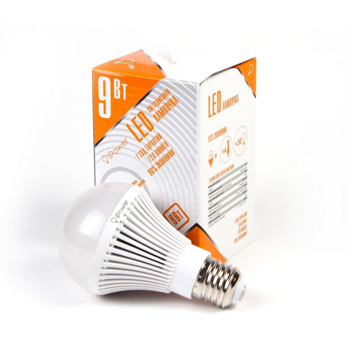 Лампа светодиодная iPower, цоколь Е27, 9W, 2700КC0044702Светодиодная лампа iPower имеет очень низкое энергопотребление. В сравнении с лампами накаливания LED потребляет в 12 разменьше электричества, а в сравнении с энергосберегающими - в 2-4 раза меньше. При этом срок службы LED лампочки в 5 раз выше, чемэнергосберегающей, и в 50 раз выше, чем у лампы накаливания. Светодиодная лампа iPower создает мягкий рассеивающий свет безмерцаний, что совершенно безопасно для глаз. Она специально разработана по требованиям российских и европейских законов и подходит ковсем осветительным устройствам, совместимым со стандартным цоколем E27. Использование светодиодов от мирового лидера Epistar - этозалог надежной и стабильной работы лампы. Теплый оттенок света лампы по световой температуресоответствует обычной лампе накаливания ипозволит создать уют в доме и местах отдыха.Диапазон рабочих температур: от -50°C до +50°С.Материал: алюминий, поликарбонат.Потребляемая мощность: 9 Вт.Рабочее напряжение: 220В.Световая температура: 2700К (теплый свет).Срок службы: 30000 часов.Форма: стандарт.Цоколь: стандарт (E27).Эквивалент мощности лампы накаливания: 70 Вт.Яркость свечения: 720 Лм.