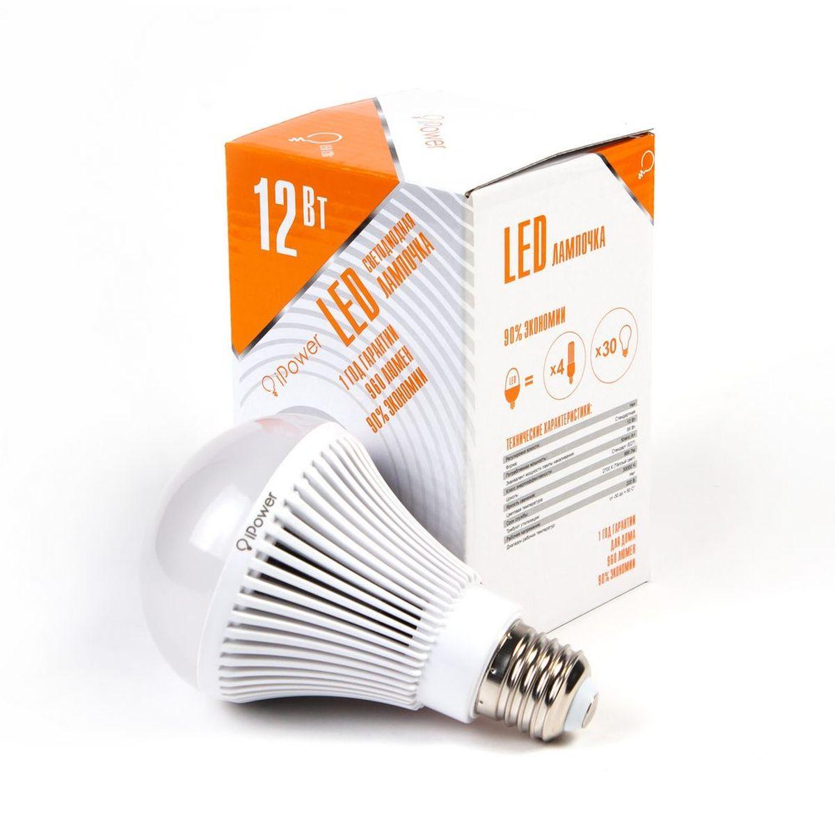Лампа светодиодная IPower LED, цоколь Е27, 12W, 2700К теплый светC0044702Светодиодная лампочка iPower IPHB12W2700KE27LED лампочка iPower имеет очень низкое энергопотребление, в сравнении с лампами накаливания LED потребляет в 12 раз меньше электричества, а в сравнении с энергосберегающими в 2-4 раз меньше. При этом срок службы LED лампочки в 5 раз выше, чем энергосберегающей, и в 50 раз выше, чем у лампы накаливания. Светодиодные лампочки iPower создают мягкий рассеивающий свет без мерцаний, что совершенно безопасно для глаз. Они специально разработаны по требованиям российских и европейских законов и подходят ко всем осветительным устройствам, совместимым со стандартным цоколем E27.Габариты 45x45x15.5Гарантия 12 мес.Диапазон рабочих температур от -50 до +50 °СМатериал Алюминий, поликарбонатПартНомер ZGB-QP80WS-12 2700KПотребляемая мощность 12 ВтРабочее напряжение, В 220ВРазмер 80*135 ммРегулировка яркости НетСветовая температура 2700К (Тёплый свет)Срок службы 30000 часовТип упаковки Цветная коробкаФорма СтандартЦвет БелыйЦоколь Стандарт (E27)Эквивалент мощности 95 Вт лампы накаливанияЯркость свечения 960 люменАртикул 1001954Производитель iPower