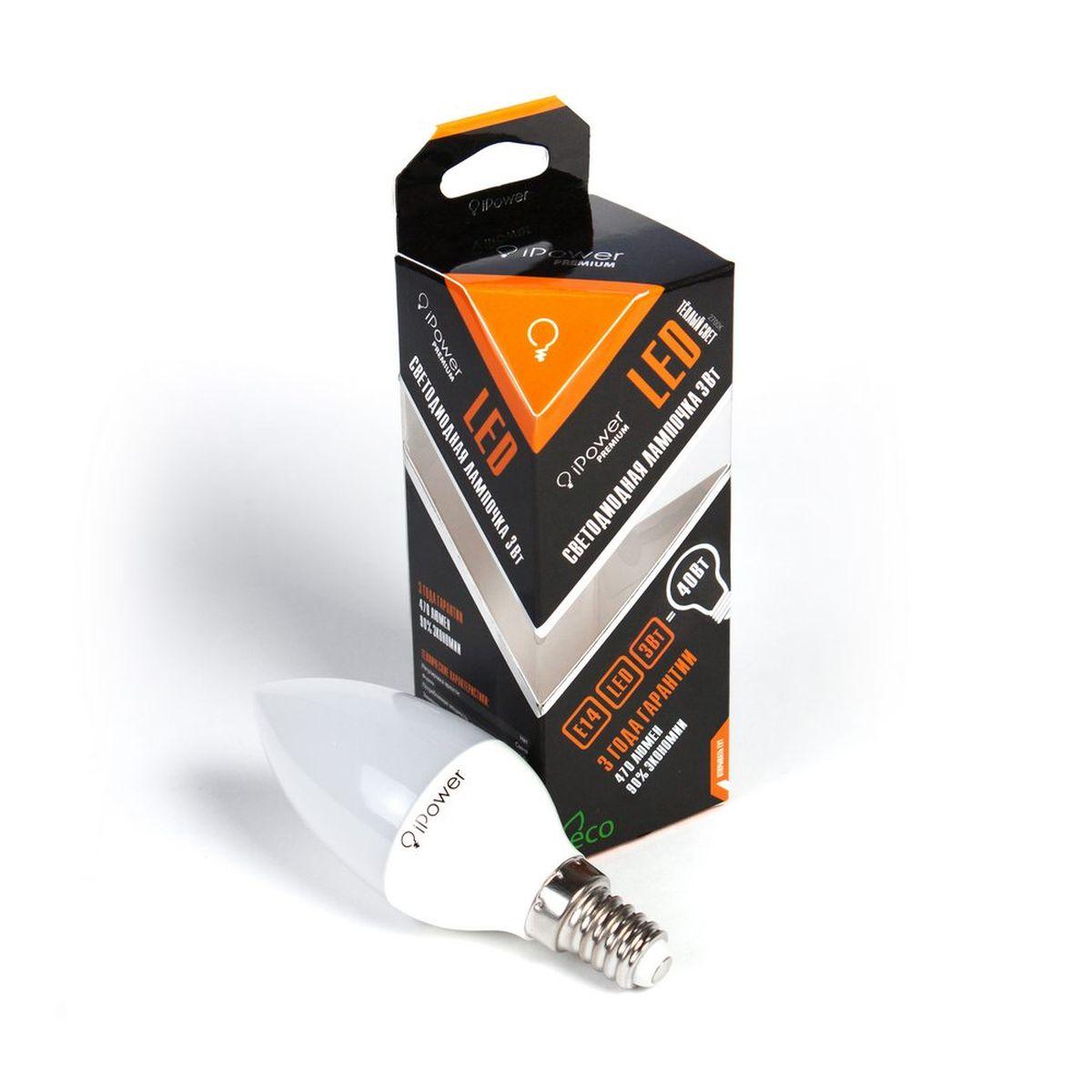 Лампа светодиодная iPower Premium, цоколь Е14, 3W, 2700К5055945502923Светодиодная лампа iPower Premium имеет очень низкое энергопотребление. В сравнении с лампами накаливания LED потребляет в 12 разменьше электричества, а в сравнении с энергосберегающими - в 2-4 раза меньше. При этом срок службы LED лампочки в 5 раз выше, чемэнергосберегающей, и в 50 раз выше, чем у лампы накаливания. Светодиодная лампа iPower Premium создает мягкий рассеивающий свет безмерцаний, что совершенно безопасно для глаз. Она специально разработана по требованиям российских и европейских законов и подходит ковсем осветительным устройствам, совместимым со стандартным цоколем E27. Использование светодиодов от мирового лидера Epistar - этозалог надежной и стабильной работы лампы. Теплый оттенок света лампы по световой температуре соответствует обычной лампе накаливания ипозволит создать уют в доме и местах отдыха.Диапазон рабочих температур от -50°С до +50 °СМатериал: алюминий, поликарбонат.Потребляемая мощность: 3 Вт.Рабочее напряжение: 220В.Световая температура: 2700К (теплый свет).Срок службы: 50000 часов.Форма: свеча.Цоколь: миньон (E14).Эквивалент мощности лампы накаливания: 40 Вт.Яркость свечения: 250 Лм.