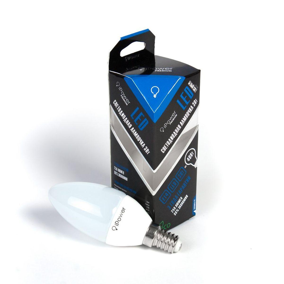 Лампа светодиодная iPower Premium, цоколь Е14, 3W, 4000КC0030771Светодиодная лампа iPower Premium имеет очень низкое энергопотребление. В сравнении с лампами накаливания LED потребляет в 12 разменьше электричества, а в сравнении с энергосберегающими - в 2-4 раза меньше. При этом срок службы LED лампочки в 5 раз выше, чемэнергосберегающей, и в 50 раз выше, чем у лампы накаливания. Светодиодная лампа iPower Premium создает мягкий рассеивающий свет безмерцаний, что совершенно безопасно для глаз. Она специально разработана по требованиям российских и европейских законов и подходит ковсем осветительным устройствам, совместимым со стандартным цоколем E27. Использование светодиодов от мирового лидера Epistar - этозалог надежной и стабильной работы лампы. Нейтральный белый оттенок свечения идеально подойдет для освещения, как офисов,образовательных и медицинских учреждений, так и кухни, гостиной.Диапазон рабочих температур: от -50°C до +50°С.Материал: алюминий, поликарбонат.Потребляемая мощность: 3 Вт.Рабочее напряжение: 220В.Световая температура: 4000К (белый свет).Срок службы: 50000 часов.Форма: свеча.Цоколь: миньон (E14).Эквивалент мощности лампы накаливания: 40 Вт.Яркость свечения: 250 Лм.