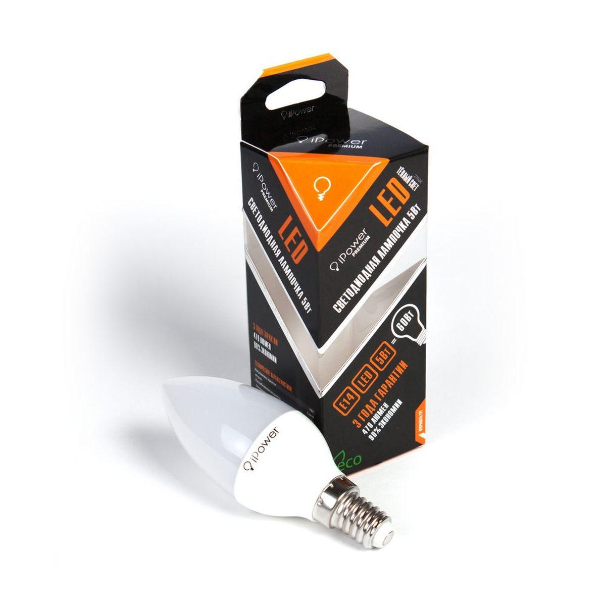 Лампа светодиодная iPower Premium, цоколь Е14, 5W, 2700КC0042416Светодиодная лампа iPower Premium имеет очень низкое энергопотребление. В сравнении с лампами накаливания LED потребляет в 12 разменьше электричества, а в сравнении с энергосберегающими - в 2-4 раза меньше. При этом срок службы LED лампочки в 5 раз выше, чемэнергосберегающей, и в 50 раз выше, чем у лампы накаливания. Светодиодная лампа iPower Premium создает мягкий рассеивающий свет безмерцаний, что совершенно безопасно для глаз. Она специально разработана по требованиям российских и европейских законов и подходит ковсем осветительным устройствам, совместимым со стандартным цоколем E27. Использование светодиодов от мирового лидера Epistar - этозалог надежной и стабильной работы лампы. Теплый оттенок света лампы по световой температуре соответствует обычной лампе накаливания ипозволит создать уют в доме и местах отдыха.Диапазон рабочих температур от -50°С до +50 °СМатериал: алюминий, поликарбонат.Потребляемая мощность: 5 Вт.Рабочее напряжение: 220В.Световая температура: 2700К (теплый свет).Срок службы: 50000 часов.Форма: свеча.Цоколь: миньон (E14).Эквивалент мощности лампы накаливания: 60 Вт.Яркость свечения: 470 Лм.