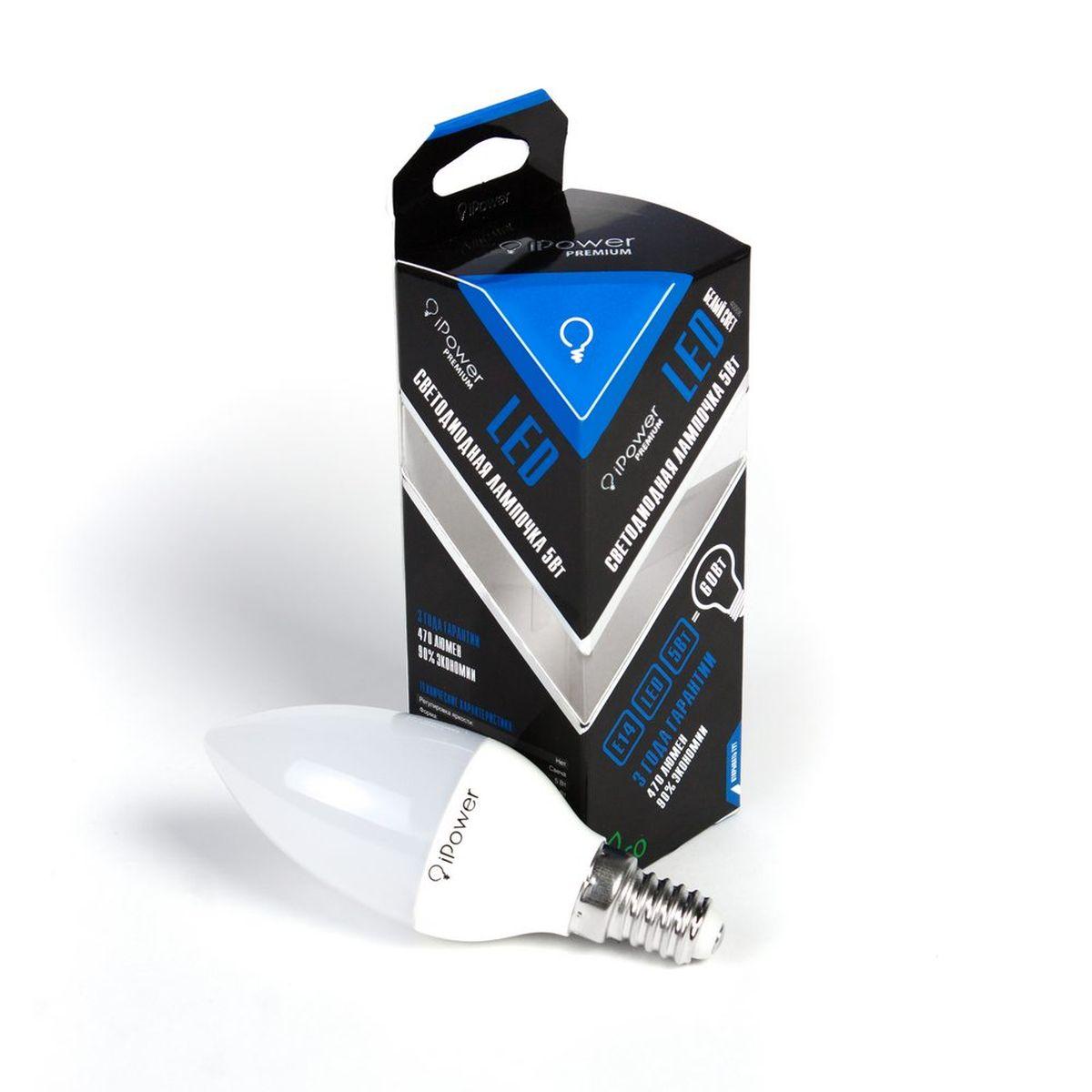 Лампа светодиодная iPower Premium, цоколь Е14, 5W, 4000КTL-100C-Q1Светодиодная лампа iPower Premium имеет очень низкое энергопотребление. В сравнении с лампами накаливания LED потребляет в 12 разменьше электричества, а в сравнении с энергосберегающими - в 2-4 раза меньше. При этом срок службы LED лампочки в 5 раз выше, чемэнергосберегающей, и в 50 раз выше, чем у лампы накаливания. Светодиодная лампа iPower Premium создает мягкий рассеивающий свет безмерцаний, что совершенно безопасно для глаз. Она специально разработана по требованиям российских и европейских законов и подходит ковсем осветительным устройствам, совместимым со стандартным цоколем E27. Использование светодиодов от мирового лидера Epistar - этозалог надежной и стабильной работы лампы. Нейтральный белый оттенок свечения идеально подойдет для освещения, как офисов,образовательных и медицинских учреждений, так и кухни, гостиной.Диапазон рабочих температур: от -50°C до +50°С.Материал: алюминий, поликарбонат.Потребляемая мощность: 5 Вт.Рабочее напряжение: 220В.Световая температура: 4000К (белый свет).Срок службы: 50000 часов.Форма: свеча.Цоколь: миньон (E14).Эквивалент мощности лампы накаливания: 60 Вт.Яркость свечения: 470 Лм.
