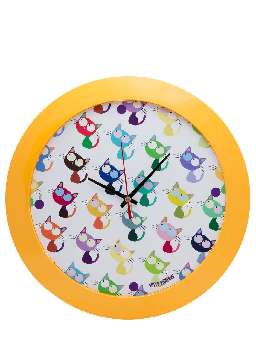 Часы настенные Mitya Veselkov Много кошек, цвет: желтый. MVC.NAST-00194672Настенные часы Mitya Veselkov Много кошек из серии MVC станут отличным украшением вашего дома, офиса или детской комнаты. Часы имеют три стрелки - часовую, минутную и секундную. Часы изготовлены из качественного легкого пластика. Циферблат часов также закрыт пластиком. В случае падения часов со стены, данный материал гораздо безопаснее увесистых стекла и стали. На задней панели часы снабжены удобным отверстием для подвески на стену.Диаметр часов: 30 см. В часах установлен кварцевый механизм.