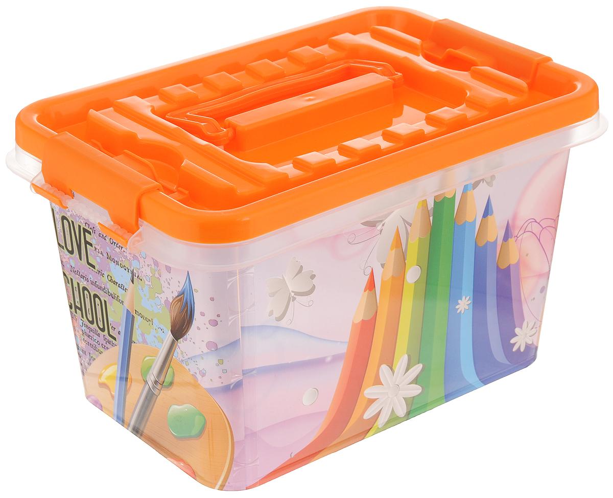 Контейнер для хранения Альтернатива Школьник, с крышкой, цвет: оранжевый, 4 л41043Контейнер Альтернатива Школьник выполнен из прочного пластика. Внешние стенки изделия декорированы красочным рисунком. В нем удобно хранить различные бытовые вещи, в том числе школьные принадлежности. Контейнер плотно закрывается крышкой с двумя защелками. Для удобства переноски сверху имеется ручка.