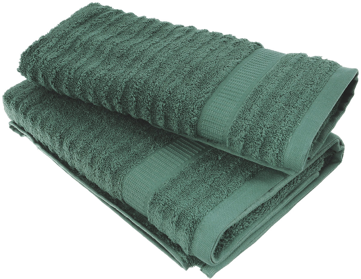 Набор хлопковых полотенец Home Textile, цвет: темно-зеленый, 2 шт68/5/3Набор Home Textile состоит из двух полотенец разного размера, выполненных из качественной натуральной махры (100% хлопок). Полотенца имеют ворс различной длины, что создает рельефную текстуру, и классический бордюр. Мягкие и уютные, они прекрасно впитывают влагу и легко стираются. Кроме того, хлопковые полотенца отличаются высокой износоустойчивостью и долгим сроком службы. Такой набор полотенец подарит массу положительных эмоций и приятных ощущений.