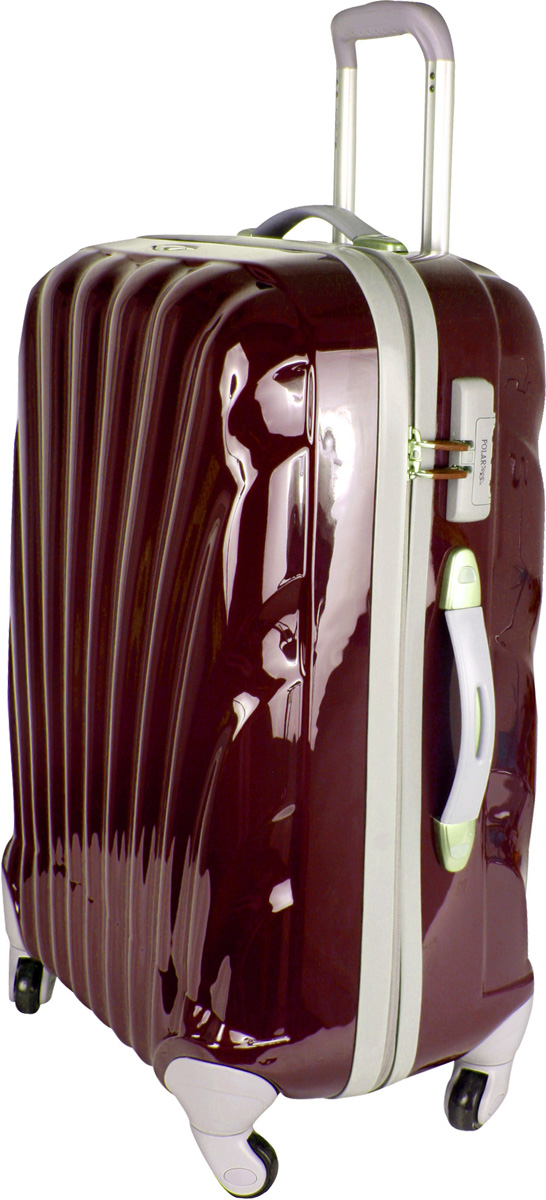 Чемодан Polar, цвет: бордовый, 63,5 л. Р1124(25)Р1124(25)Вес чемодана имеет большое значение после введения новых правил по авиа перевозке.Пластиковый чемодан Polar весит намного меньше, чем обычные чемоданы из традиционных материалов.Материал ABS-пластик максимально устойчив к деформации. Кроме того, он обладает повышенной гибкостью, что позволяет материалу не ломаться и не трескаться при внешних нагрузках. Чемодан отлично подходит для перевозки хрупких вещей. Пластик отлично защищает внутреннее содержание от любых внешних воздействий.Еще один принципиальный момент - это количество колес.Чемодан с четырьмя колесами на основании. Он более маневренный и удобный в обращении по отношению к двухколесным чемоданам. Можно просто выдвинуть ручку и катить его рядом с собой в любом направлении, при этом не будет никакой нагрузки на кисть, что очень важно, если чемодан у вас большой и тяжелый.Чемодан оснащен выдвижной ручкой (выдвигается в два сложения на 52 см) и внутренней тележкой. Внутри расположены портплед, карман из сетки на молнии, фиксатор с зажимом для ваших вещей, дополнительный карман для вещей на молнии. 4 колеса вращаются на 360 градусов. Также предусмотрен кодовый замок.