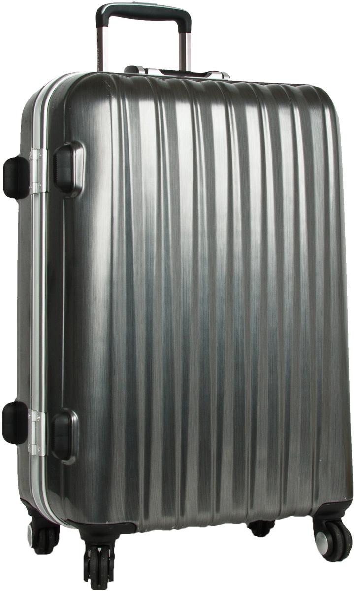 Чемодан Polar, цвет: темно-серый, 121 л. Р1155(29)ГризлиЧемодан Polar выполнен из ABS-пластика, максимально устойчивого к деформации. Кроме того, он обладает повышенной гибкостью, что позволяет материалу не ломаться и не трескаться при внешних нагрузках. Чемодан отлично подходит для перевозки хрупких вещей. Пластик отлично защищает внутреннее содержание от любых внешних воздействий. Еще один принципиальный момент - это количество колес. Чемодан с четырьмя колесиками на основании. Он более маневренный и удобный в обращении по отношению к двухколесным чемоданам. Можно просто выдвинуть ручку и катить его рядом с собой в любом направлении, при этом не будет никакой нагрузки на кисть, что очень важно, если чемодан у вас большой и тяжелый. Выдвигающаяся ручка выдвигается на 29 см. Внутри находятся карман из сетки на молнии и фиксатор с зажимом для ваших вещей. 4 колеса вращаются на 360 градусов. Кодовый замок с системой TSA.