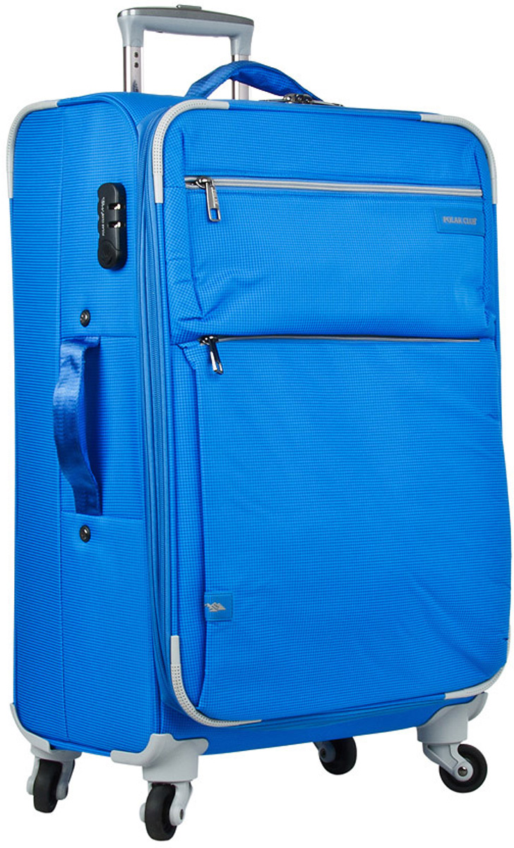 Чемодан Polar, цвет: синий, 55 л. Р1891(24)332515-2800Чемодан Polar выполнен из полиэстера. Внутри чемодана имеются фиксирующие ремни и два дополнительных кармана на молнии. Также основное отделение можно увеличить в объеме, расстегнув молнию, при этом чемодан увеличивается в глубину на 5 см. Ручка выдвигается в два сложения на 39 см, расположена внутри корпуса чемодана, что способствует большей прочности и защите от ударов при разгрузке/погрузке чемодана. Снаружи на передней стенке расположены два больших кармана на молнии. Надежные четыре колеса на подшипниках вращаются на 360°. В комплекте идет кодовый замок.