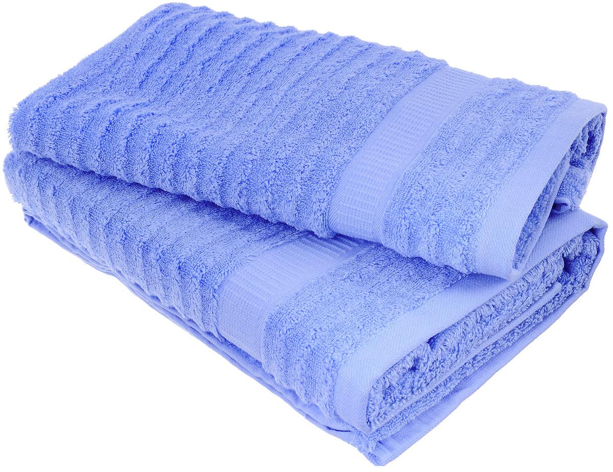 Набор хлопковых полотенец Home Textile, цвет: голубой, 2 шт68/5/4Набор Home Textile состоит из двух полотенец разного размера, выполненных из качественной натуральной махры (100% хлопок). Полотенца имеют ворс различной длины, что создает рельефную текстуру, и классический бордюр. Мягкие и уютные, они прекрасно впитывают влагу и легко стираются. Кроме того, хлопковые полотенца отличаются высокой износоустойчивостью и долгим сроком службы. Такой набор полотенец подарит массу положительных эмоций и приятных ощущений.