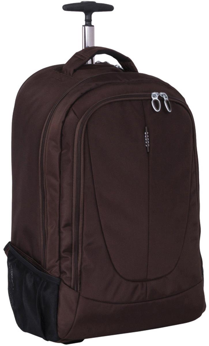 "Чемодан-рюкзак ""Polar"", на колесах, цвет: кофейный, 46 л, 38 х 55 х 22 см. Р8293(22"")"
