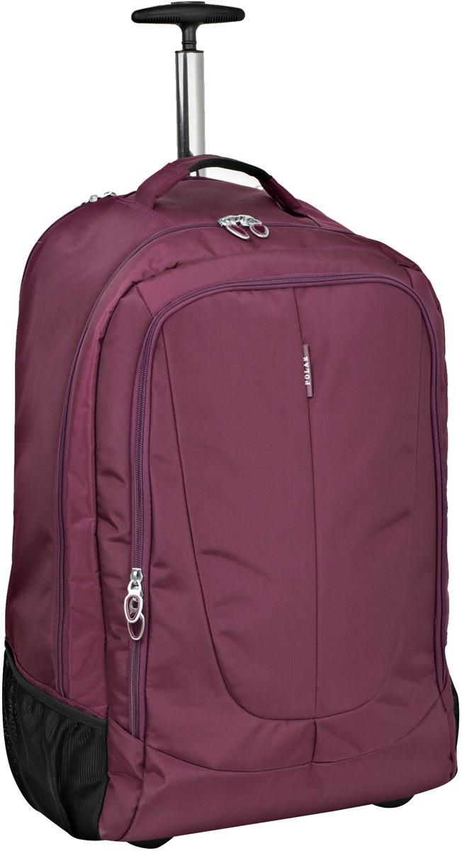 Чемодан-рюкзак Polar, на колесах, цвет: фиолетовый, 46 л, 38 х 55 х 22 см. Р8293(22)р1145(25)Чемодан-рюкзак на колесах фирмы POLAR. Чемодан не имеет каркаса, можно сложить при хранении. На задней стенке чемодана спрятаны под молнию рюкзачные лямки которые можно достать расстегнув молнию. Внутри: большое отделение с фиксаторами и зажимами для ваших вещей. Выдвигающая ручка складывается и закрывается на молнию. Снаружи - карман на молнии.