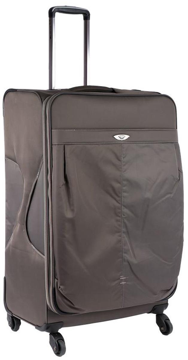 Чемодан Polar, цвет: серый, 57,5 л. Р8726(24)КомфортСупер-легкий чемодан Polar выполнен из полиэстера. Основное отделение на подкладке из нейлона имеет фиксирующие ремни и карман-портплед для глаженых вещей. Также, основное отделение можно увеличить в объеме, расстегнув молнию, при этом чемодан увеличивается в толщину на 5 см. Выдвигающаяся ручка выдвигается на 40 см, расположена внутри корпуса чемодана, что способствует большей прочности и защите от ударов при разгрузке/погрузке чемодана. Снаружи на передней стенке расположен большой карман на молнии. Навесной кодовый замок. 4 надежных прорезиненных колеса на подшипниках, диаметр 4 см.