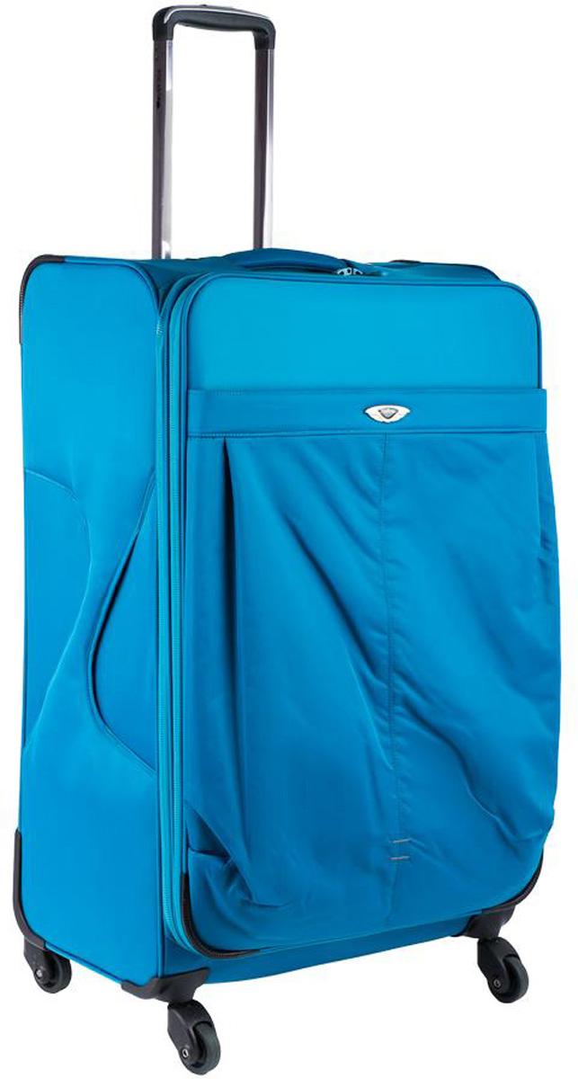 Чемодан Polar, цвет: синий, 57,5 л. Р8726(24)Р8726(24)Супер-легкий чемодан Polar выполнен из полиэстера. Основное отделение на подкладке из нейлона имеет фиксирующие ремни и карман-портплед для глаженых вещей. Также, основное отделение можно увеличить в объеме, расстегнув молнию, при этом чемодан увеличивается в толщину на 5 см. Выдвигающаяся ручка выдвигается на 40 см, расположена внутри корпуса чемодана, что способствует большей прочности и защите от ударов при разгрузке/погрузке чемодана. Снаружи на передней стенке расположен большой карман на молнии. Навесной кодовый замок. 4 надежных прорезиненных колеса на подшипниках, диаметр 4 см.
