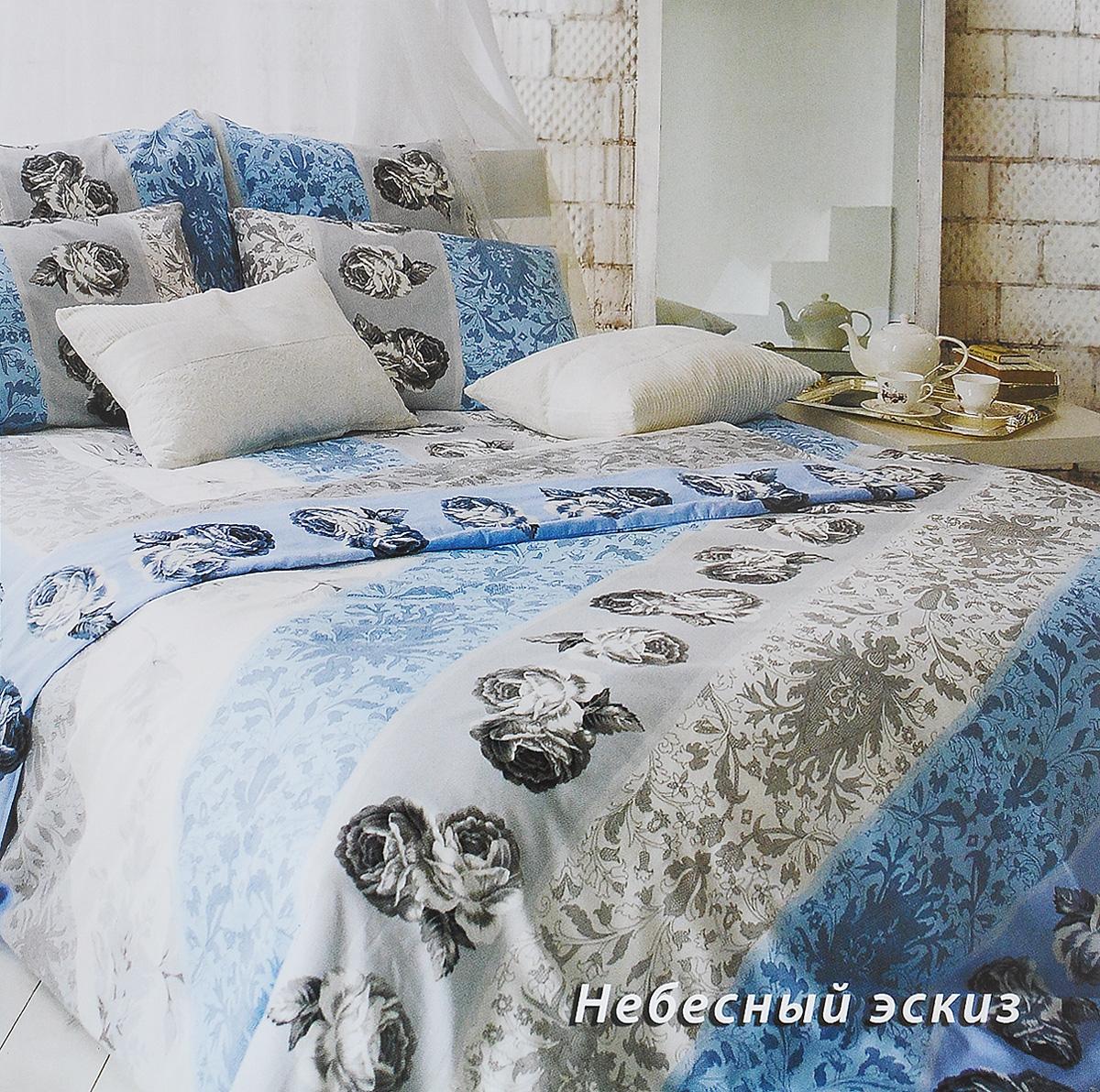 Комплект белья Tiffanys Secret Небесный эскиз, евро, наволочки 70х70, цвет: голубой, белый, серыйCA-3505Комплект постельного белья Tiffanys Secret Небесный эскиз является экологически безопасным для всей семьи, так как выполнен из сатина (100% хлопок). Комплект состоит из пододеяльника, простыни и двух наволочек. Предметы комплекта оформлены оригинальным рисунком.Благодаря такому комплекту постельного белья вы сможете создать атмосферу уюта и комфорта в вашей спальне.Сатин - это ткань, навсегда покорившая сердца человечества. Ценившие роскошь персы называли ее атлас, а искушенные в прекрасном французы - сатин. Секрет высококачественного сатина в безупречности всего технологического процесса. Эту благородную ткань делают только из отборной натуральной пряжи, которую получают из самого лучшего тонковолокнистого хлопка. Благодаря использованию самой тонкой хлопковой нити получается необычайно мягкое и нежное полотно. Сатиновое постельное белье превращает жаркие летние ночи в прохладные и освежающие, а холодные зимние - в теплые и согревающие. Сатин очень приятен на ощупь, постельное белье из него долговечно, выдерживает более 300 стирок, и лишь спустя долгое время материал начинает немного тускнеть. Оцените все достоинства постельного белья из сатина, выбирая самое лучшее для себя!