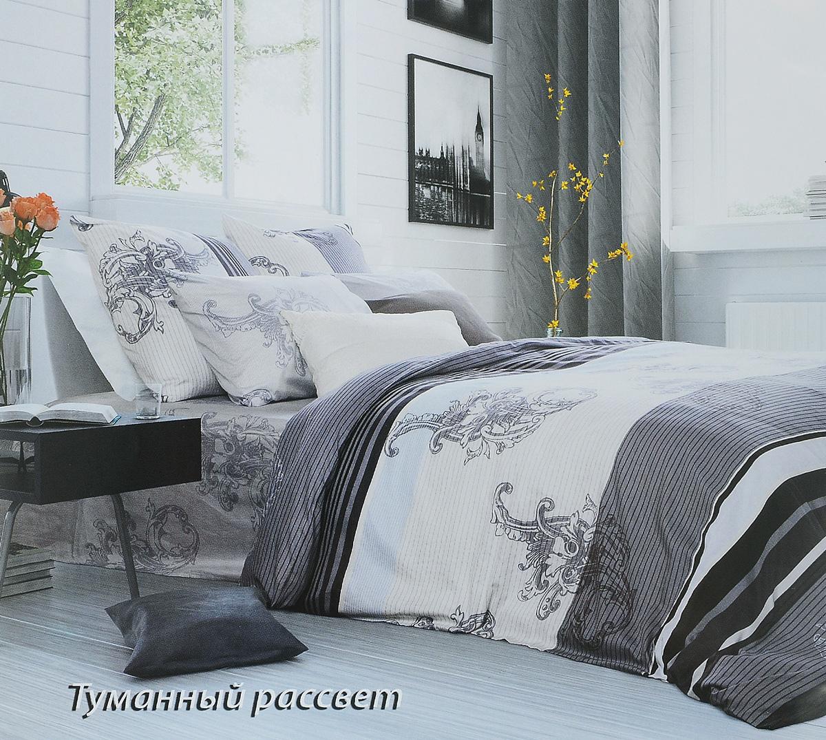 Комплект белья Tiffanys Secret Туманный рассвет, евро, наволочки 70х70, цвет: серый, белый391602Комплект постельного белья Tiffanys Secret Туманный рассвет является экологически безопасным для всей семьи, так как выполнен из сатина (100% хлопок). Комплект состоит из пододеяльника, простыни и двух наволочек. Предметы комплекта оформлены оригинальным рисунком.Благодаря такому комплекту постельного белья вы сможете создать атмосферу уюта и комфорта в вашей спальне.Сатин - это ткань, навсегда покорившая сердца человечества. Ценившие роскошь персы называли ее атлас, а искушенные в прекрасном французы - сатин. Секрет высококачественного сатина в безупречности всего технологического процесса. Эту благородную ткань делают только из отборной натуральной пряжи, которую получают из самого лучшего тонковолокнистого хлопка. Благодаря использованию самой тонкой хлопковой нити получается необычайно мягкое и нежное полотно. Сатиновое постельное белье превращает жаркие летние ночи в прохладные и освежающие, а холодные зимние - в теплые и согревающие. Сатин очень приятен на ощупь, постельное белье из него долговечно, выдерживает более 300 стирок, и лишь спустя долгое время материал начинает немного тускнеть. Оцените все достоинства постельного белья из сатина, выбирая самое лучшее для себя!